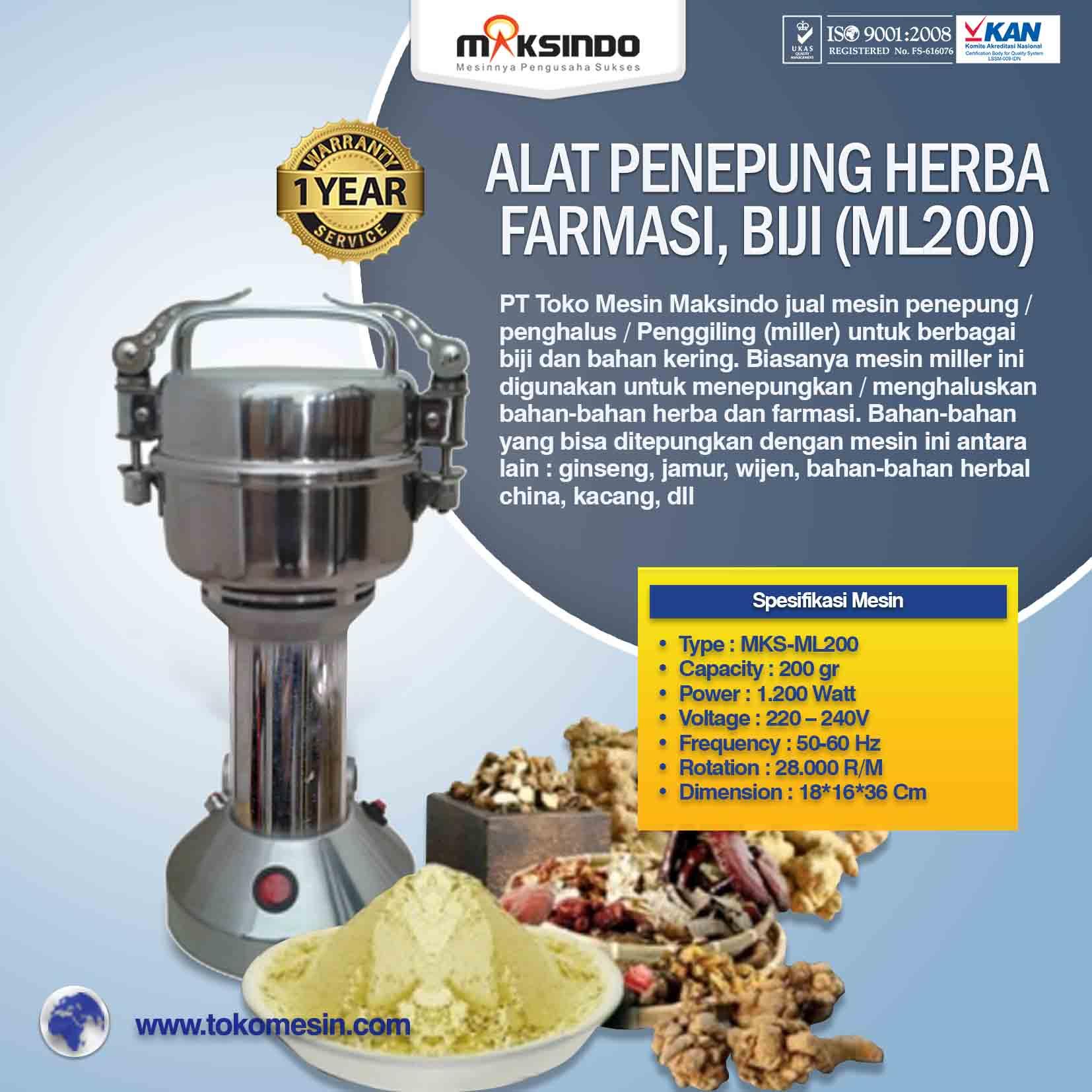Jual Penepung Herba, Farmasi, Biji (ML200) di Bekasi