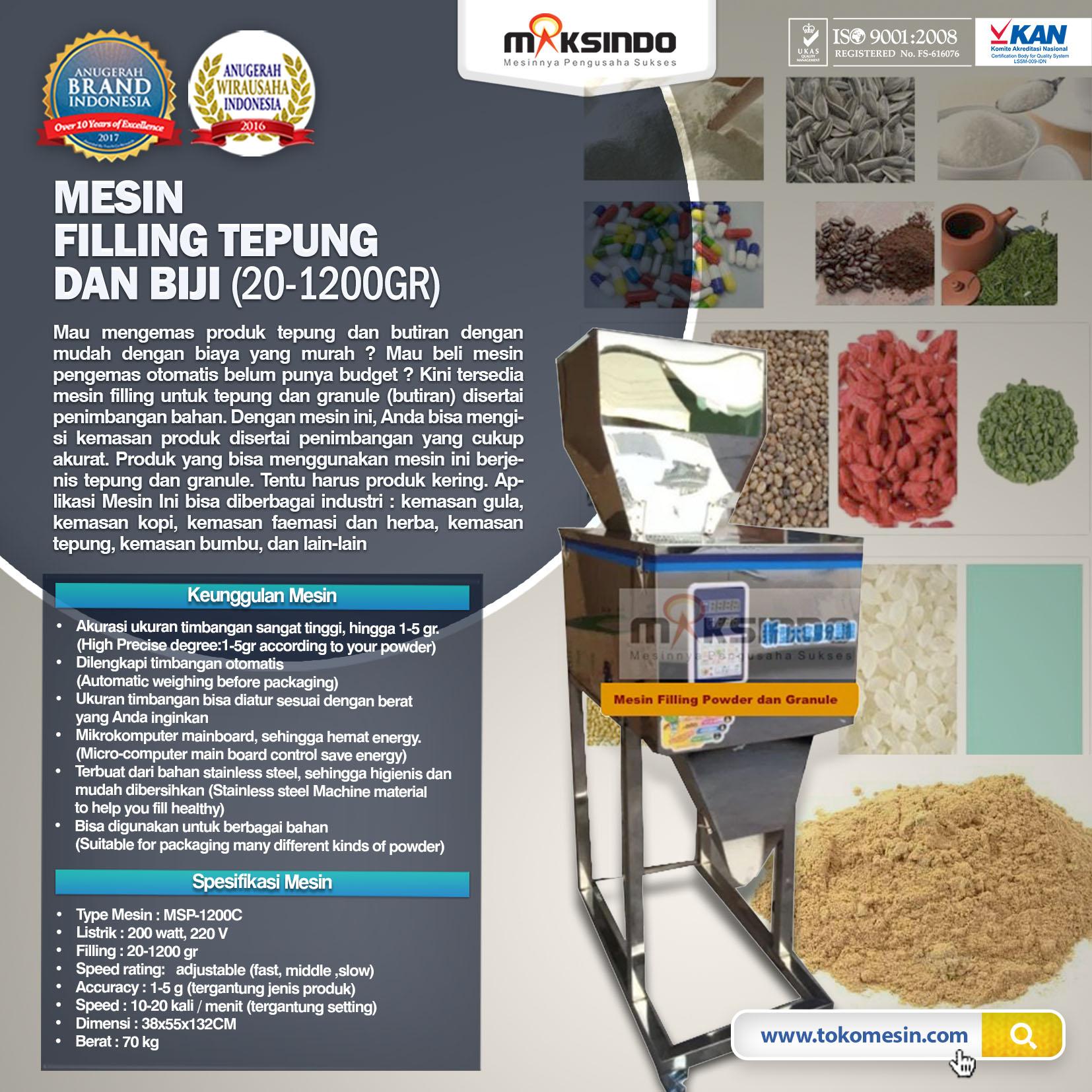 Jual Mesin Filling Tepung dan Biji (20-1200gr) di Bekasi