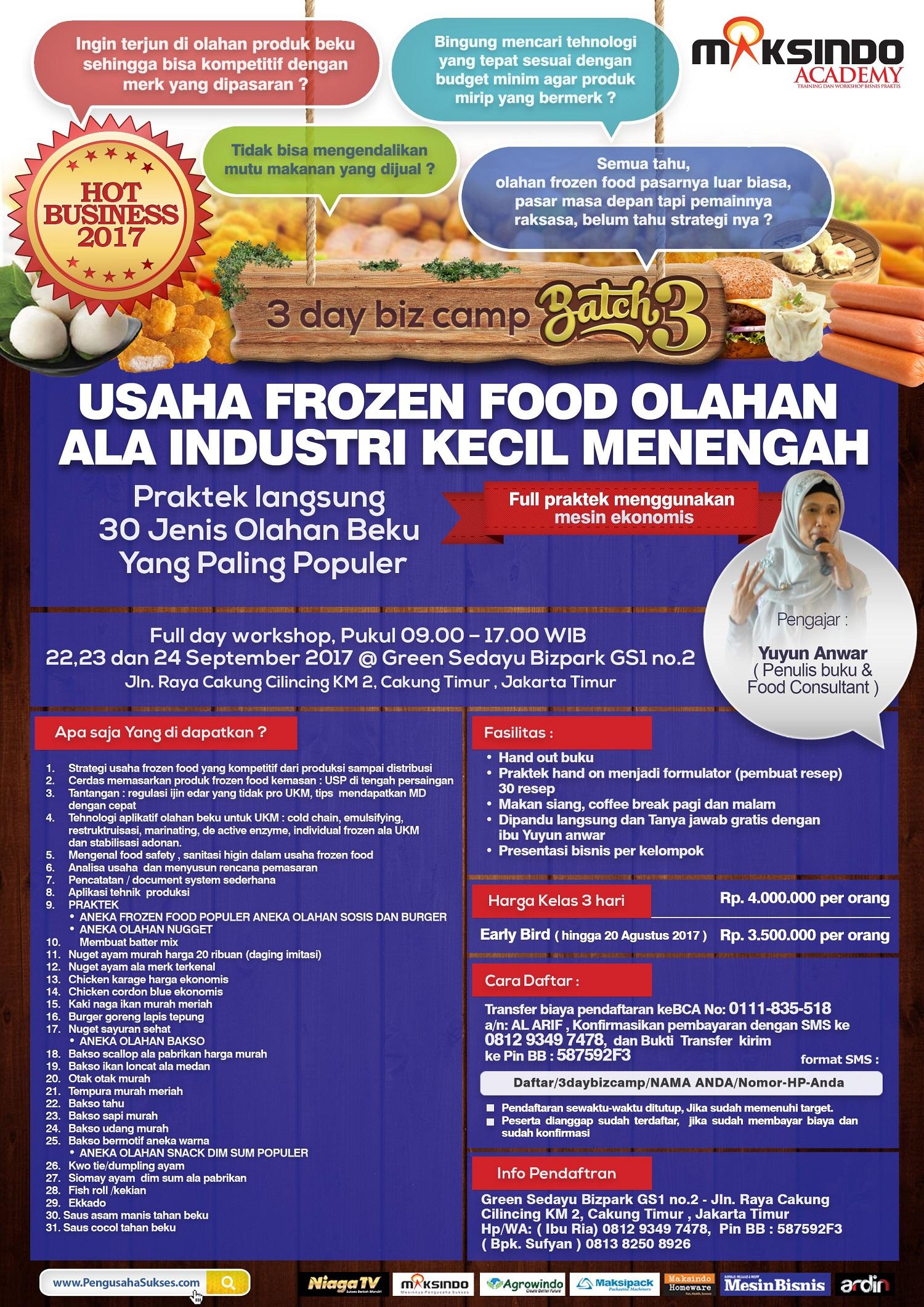 Training Usaha Frozen Food, 22-24 September 2017