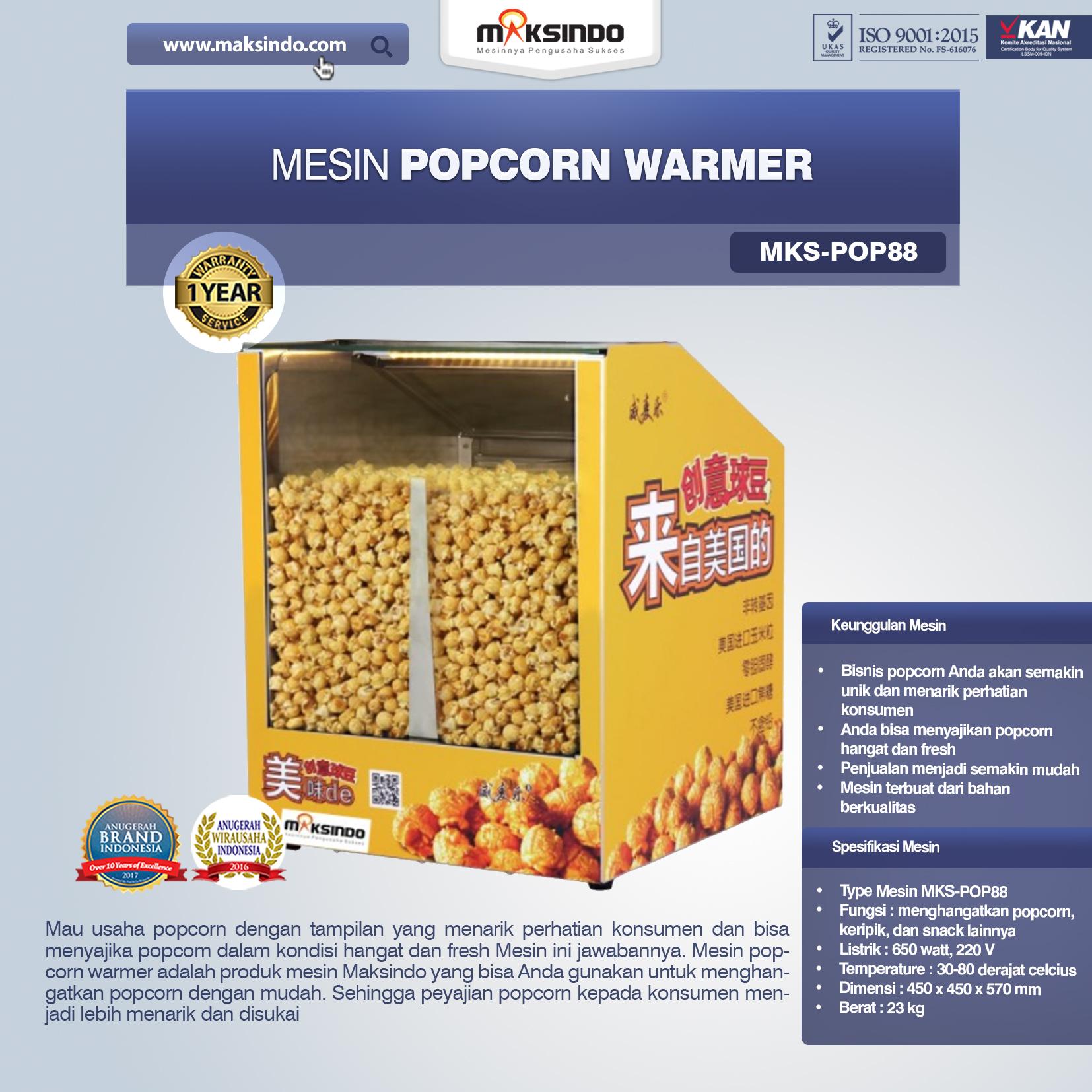 Jual Mesin Popcorn Warmer (POP88) di Bekasi
