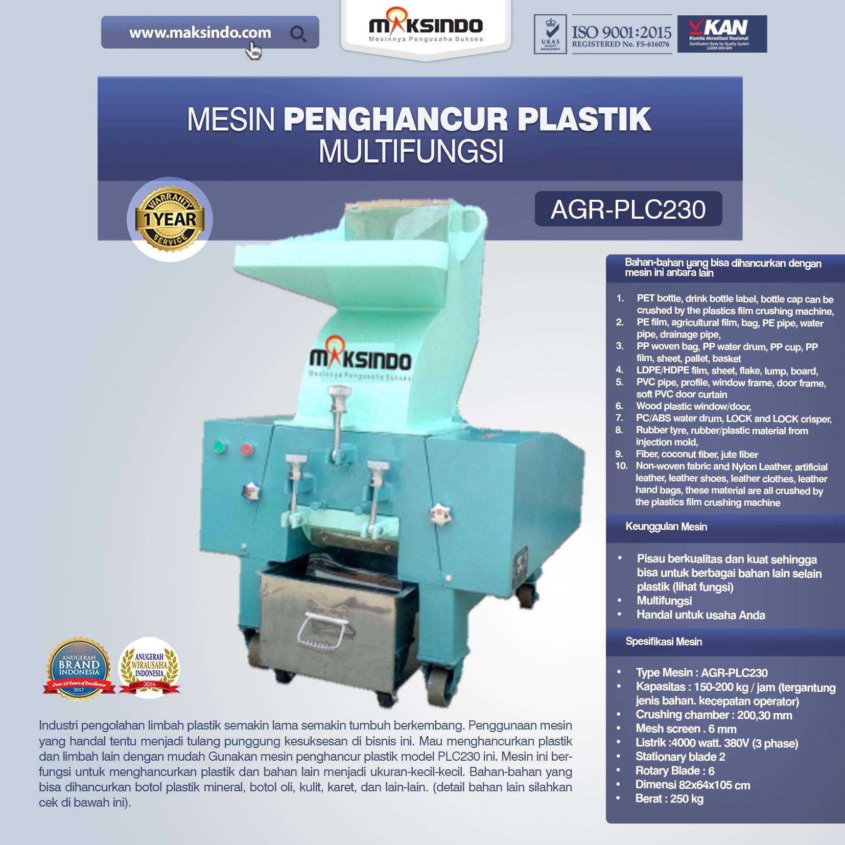 Jual Mesin Penghancur Plastik Multifungsi – PLC230 Di Bekasi