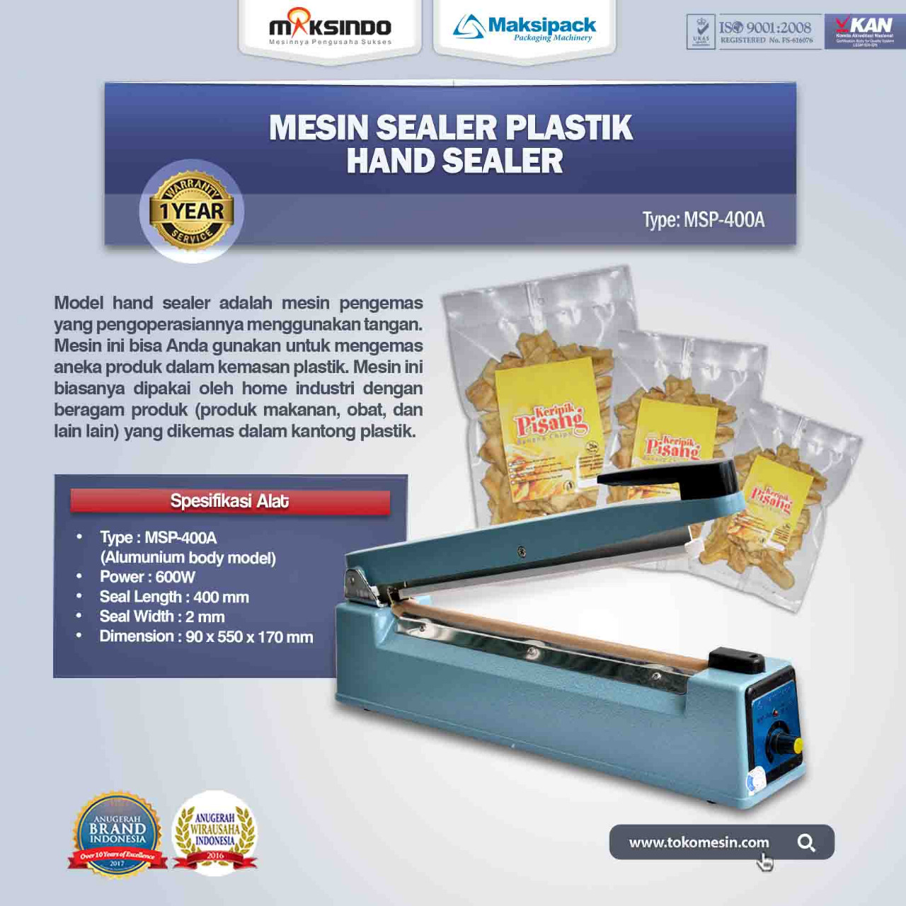 Jual Mesin Sealer Plastik Hand Sealer (MSP-400A) Di Bekasi