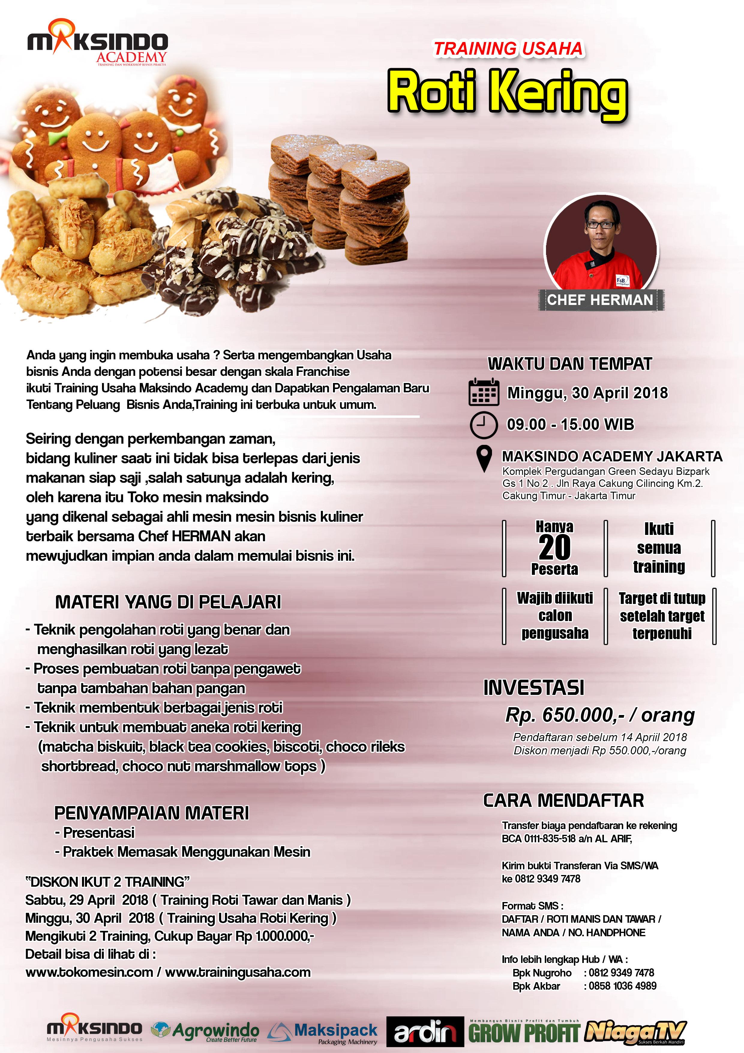 Training Usaha Roti Kering, 30 April 2018