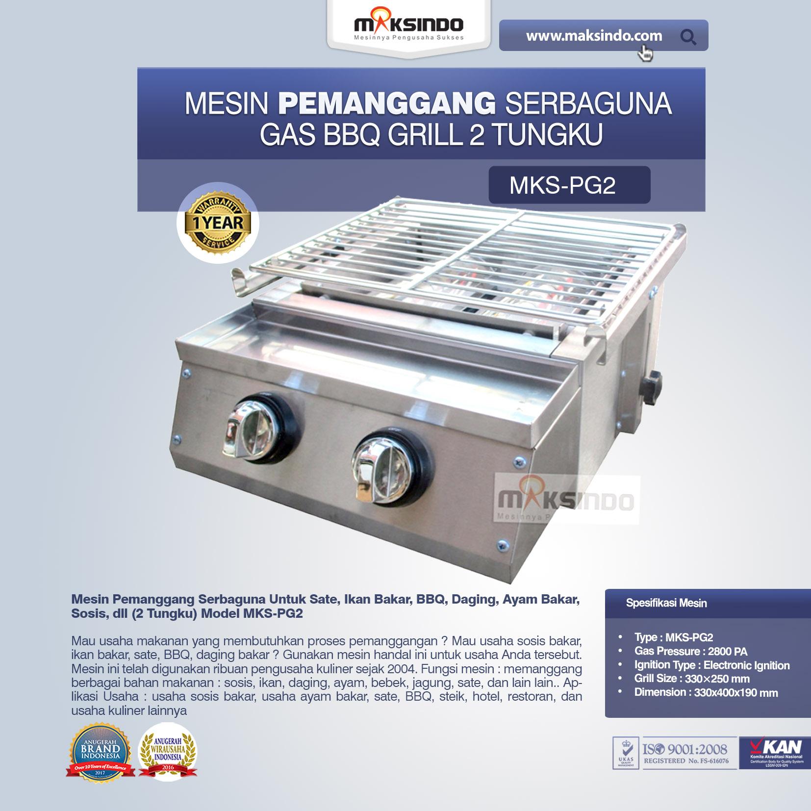 Jual Pemanggang Serbaguna – Gas BBQ Grill 2 Tungku Full Stainless di Bekasi