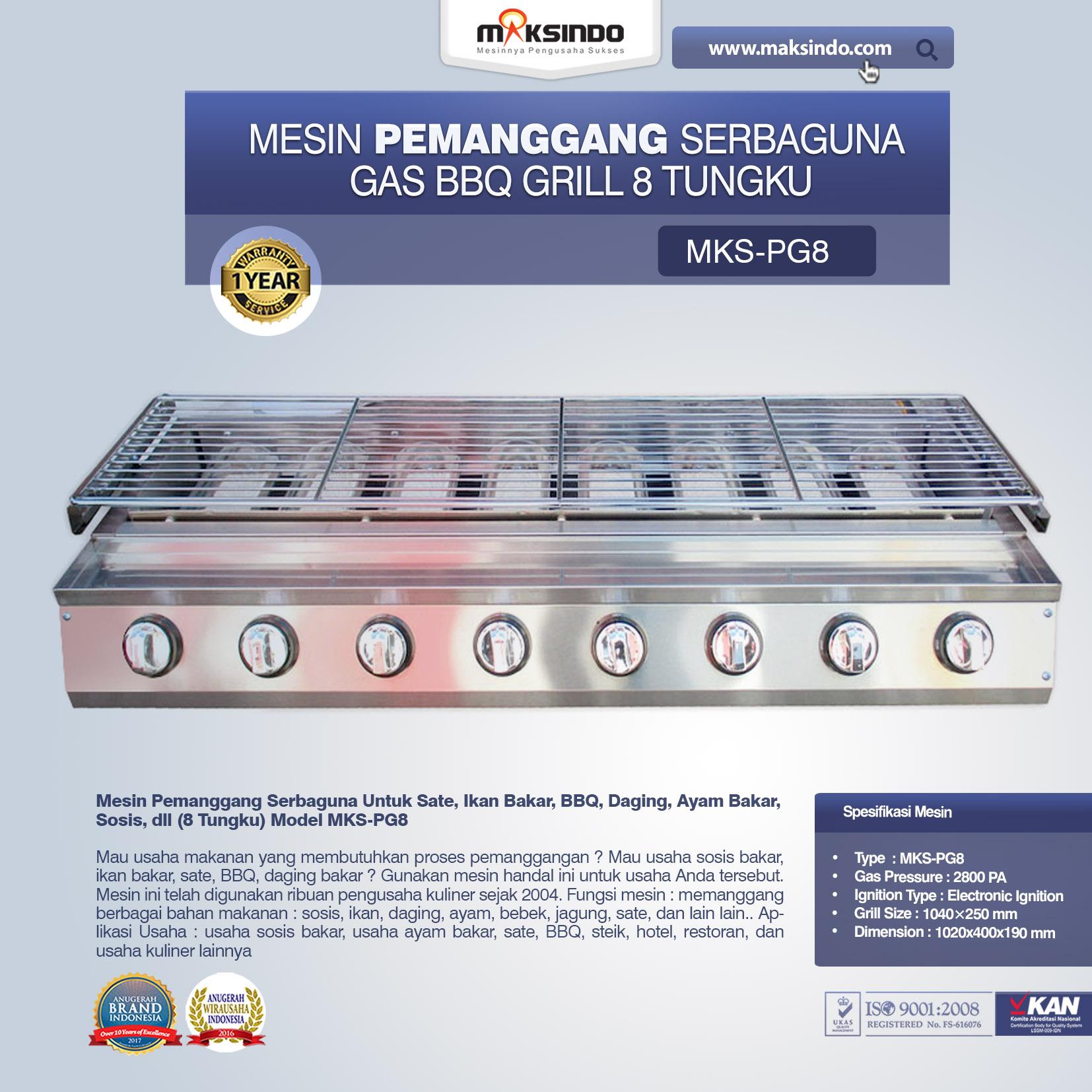 Jual Pemanggang Serbaguna Gas BBQ Grill 8 Tungku Di