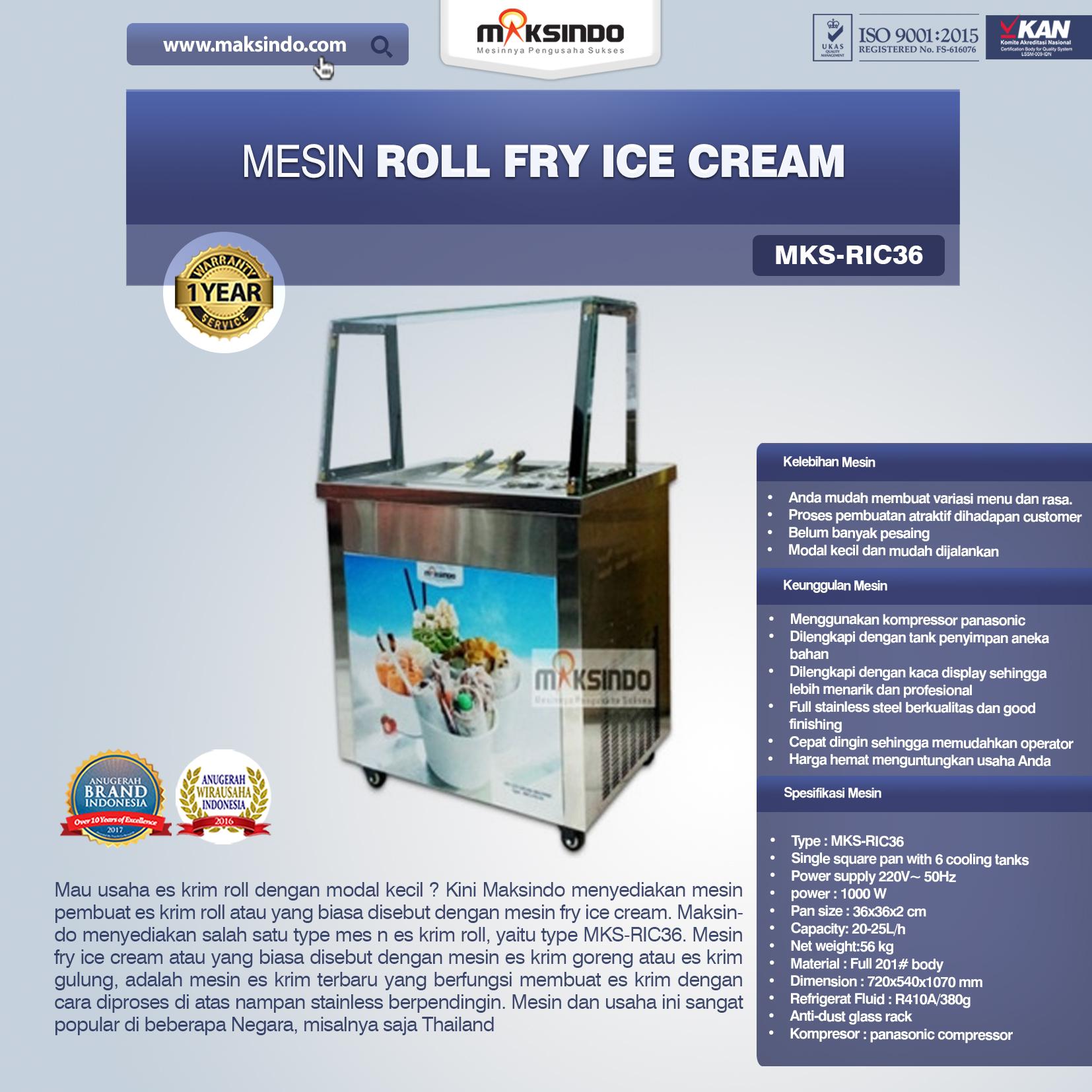 Jual Mesin Roll Fry Ice Cream (RIC36) di Bekasi