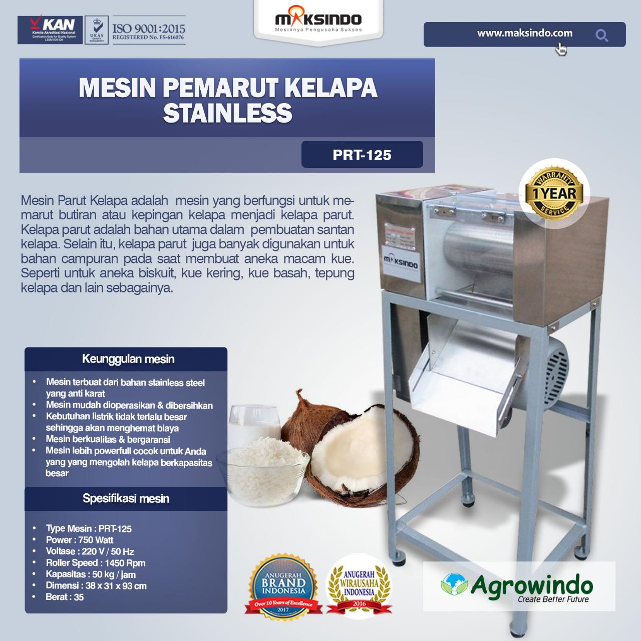 Jual Mesin Pemarut Kelapa Stainless PRT-125 di Bekasi