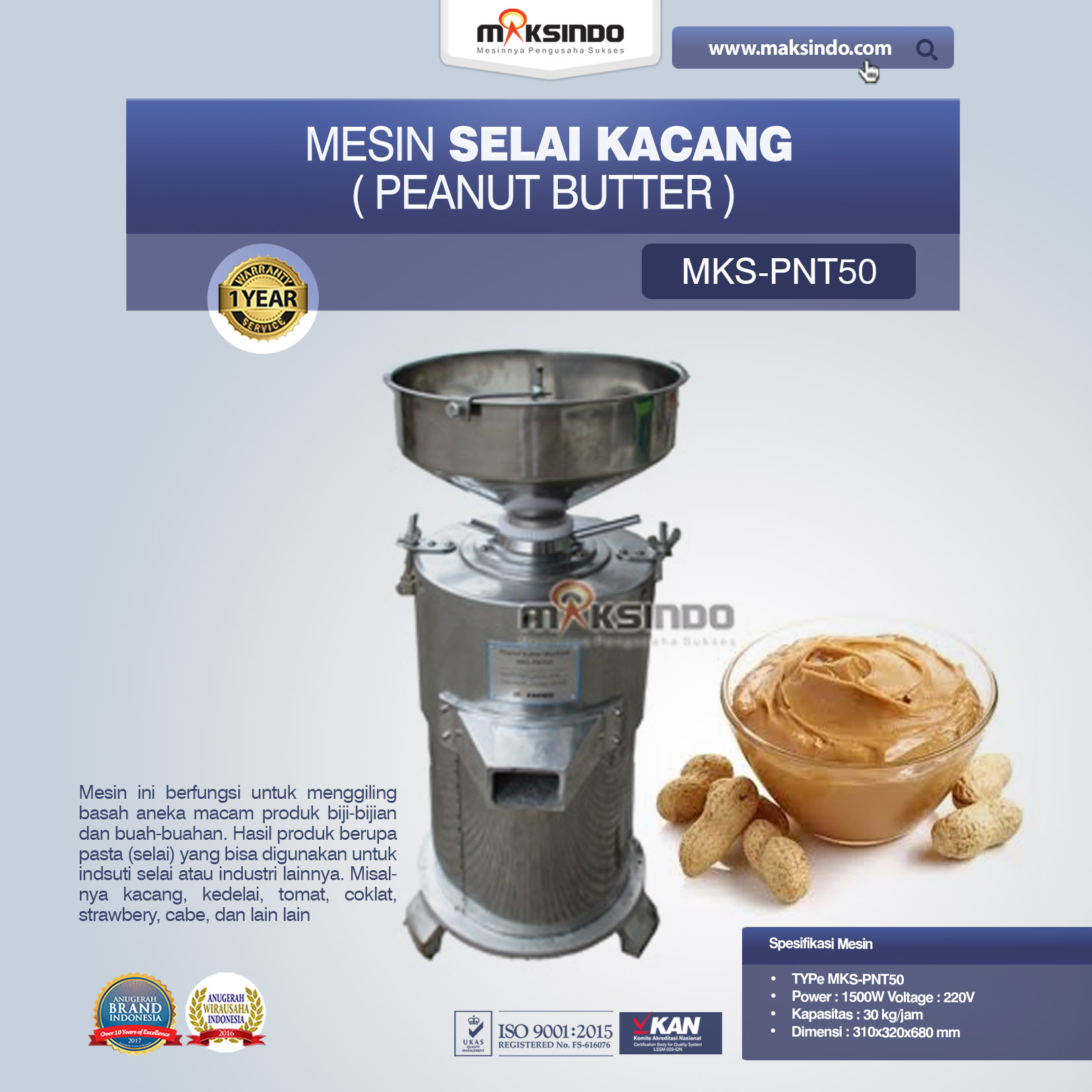 Jual Mesin Selai Kacang (Peanut Butter) MKS-PNT50 Di Bekasi