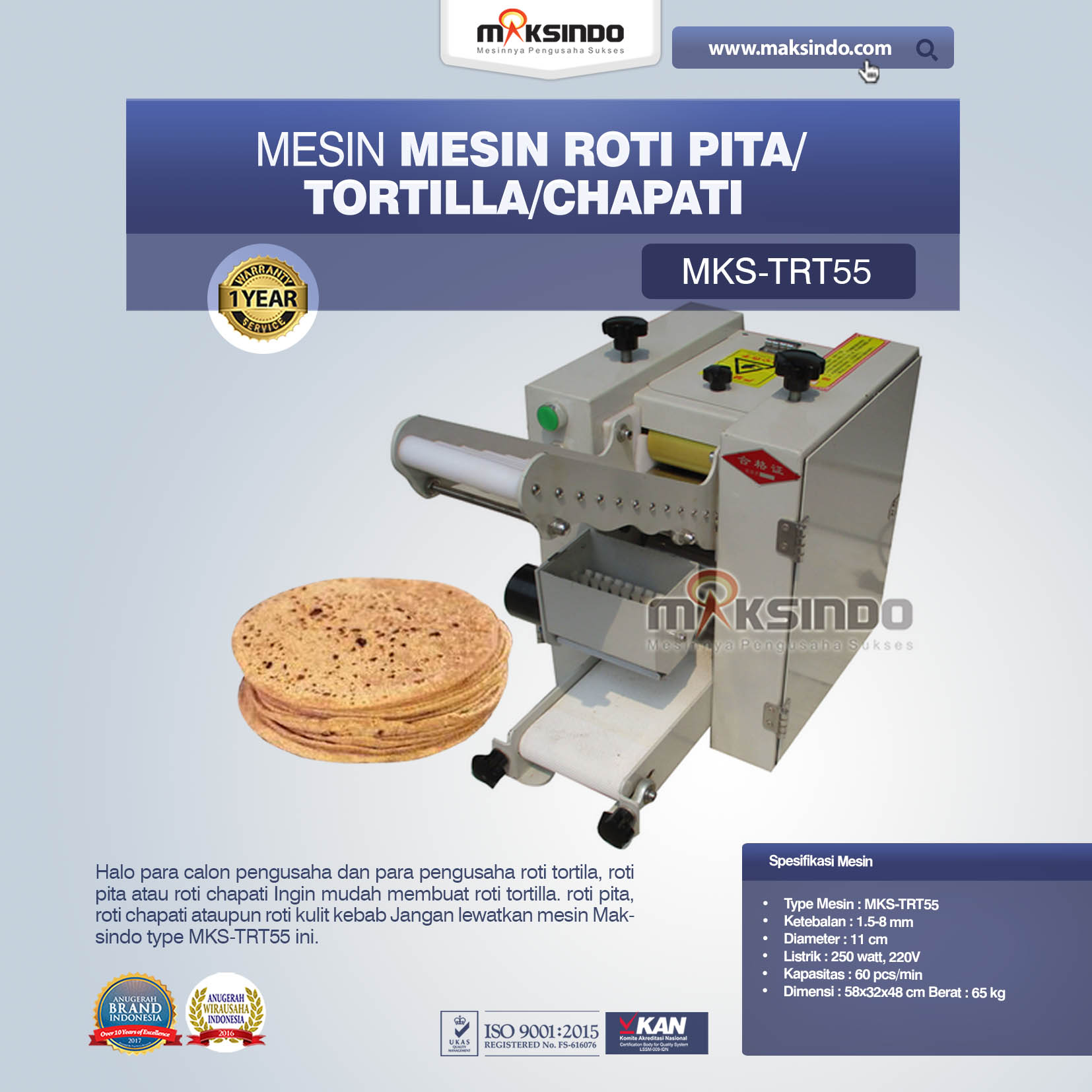 Jual Mesin Roti Pita/Tortilla/Chapati MKS-TRT55 Di Bekasi