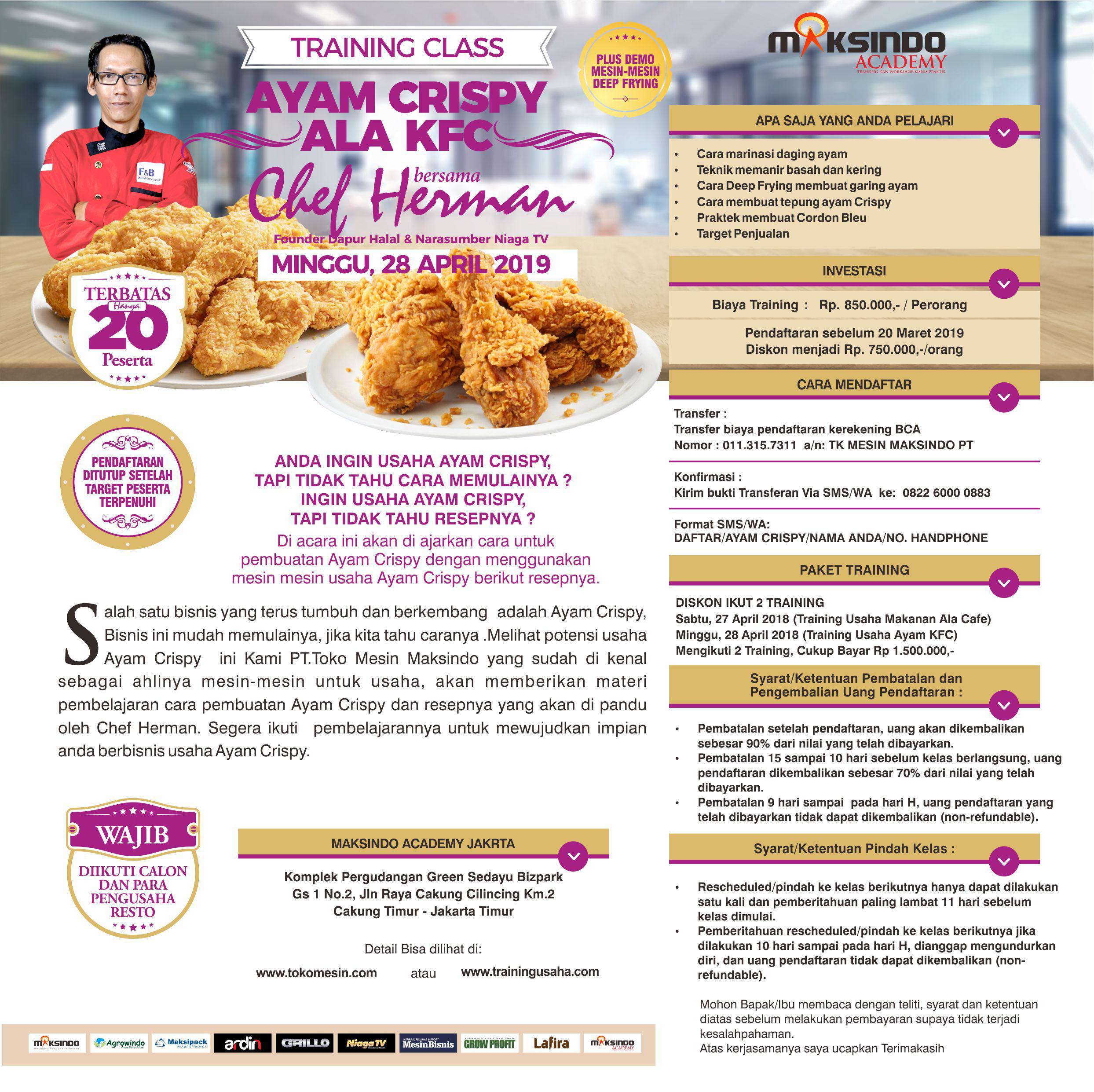 Training Class Ayam Crispy Ala KFC, Sabtu 28 April 2019