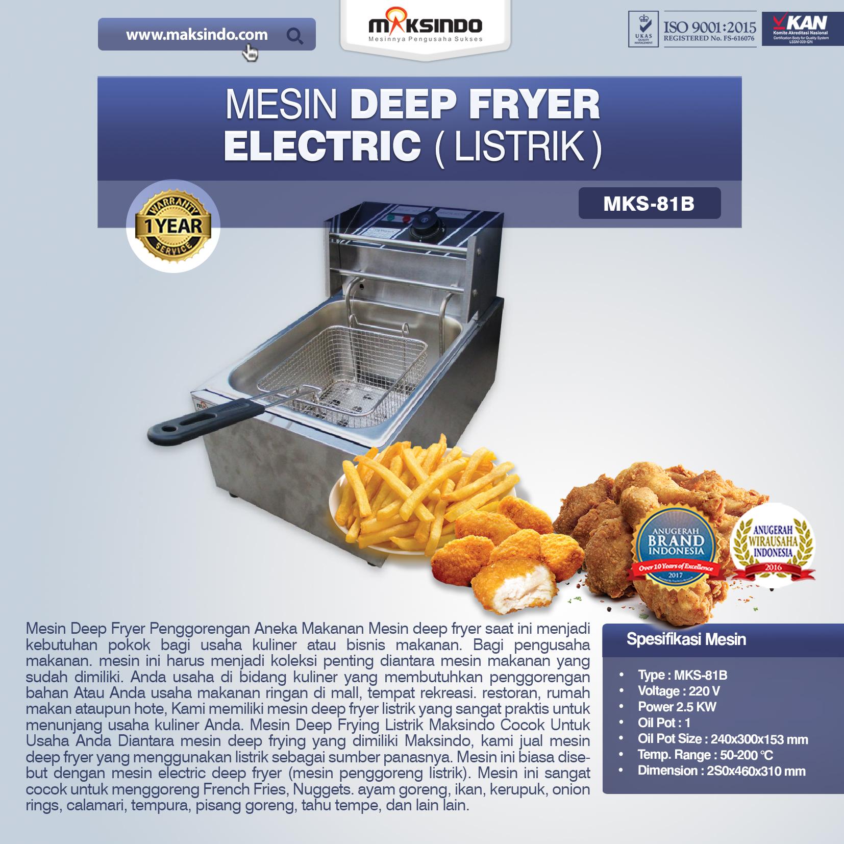 Jual Mesin Deep Fryer Listrik MKS-81B di Bekasi