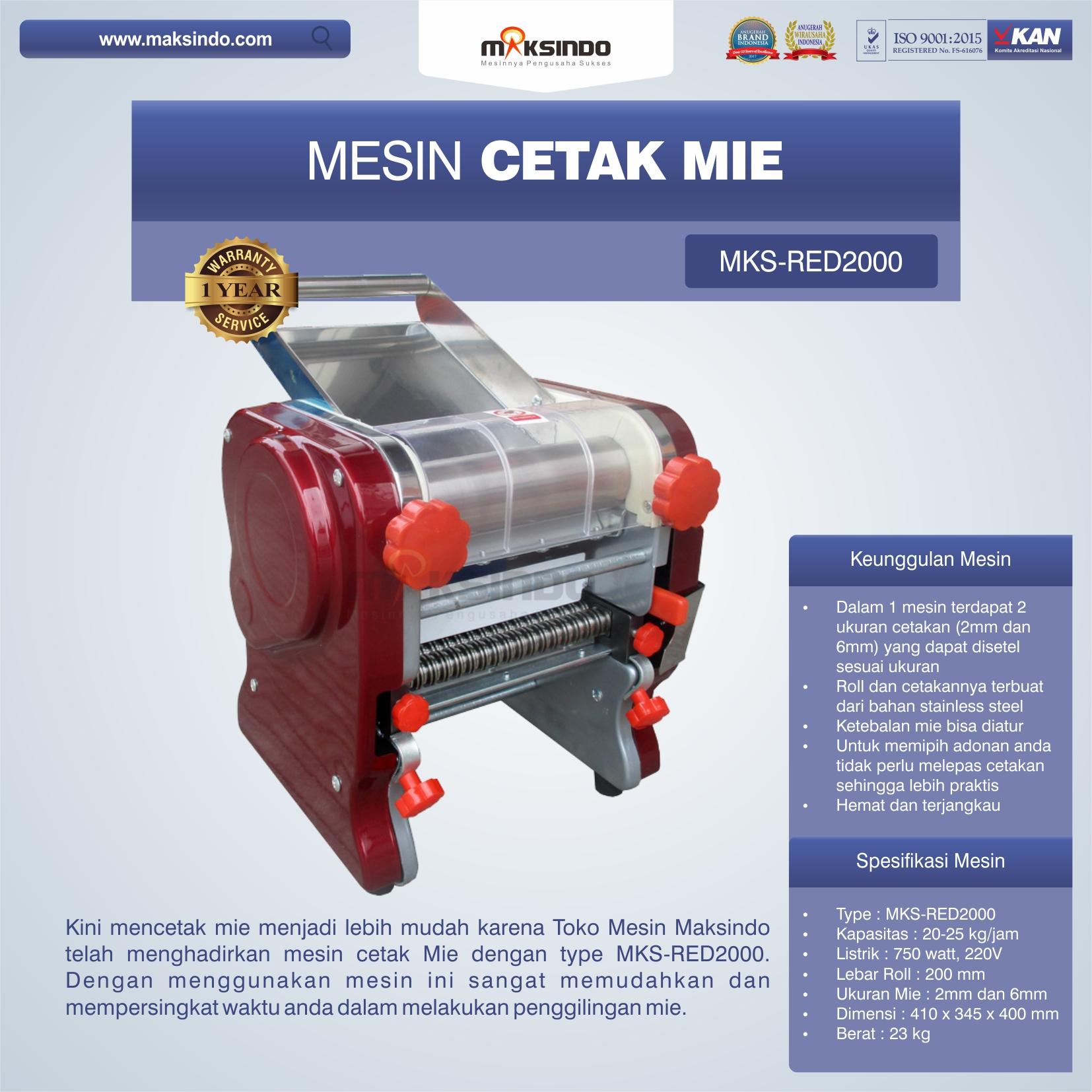 Jual Mesin Cetak Mie MKS-RED2000 di Bekasi
