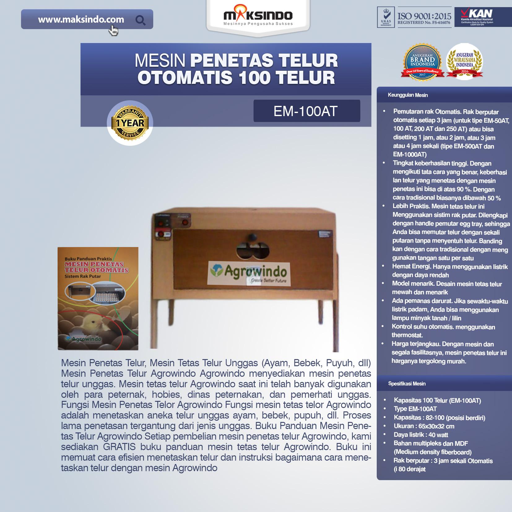 Jual Mesin Penetas Telur Otomatis 100 Telur (EM-100AT) di Bekasi
