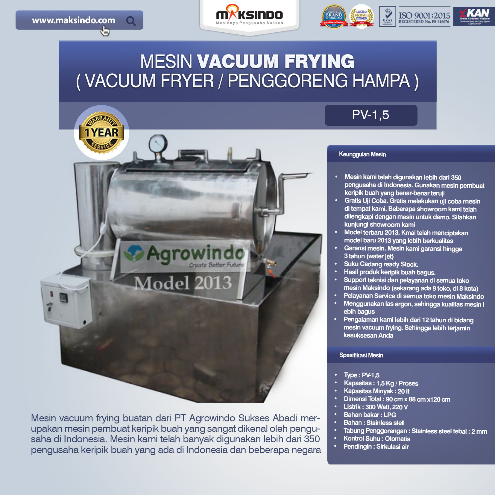 Jual Mesin Vacuum Frying Kapasitas 1.5 kg di Bekasi