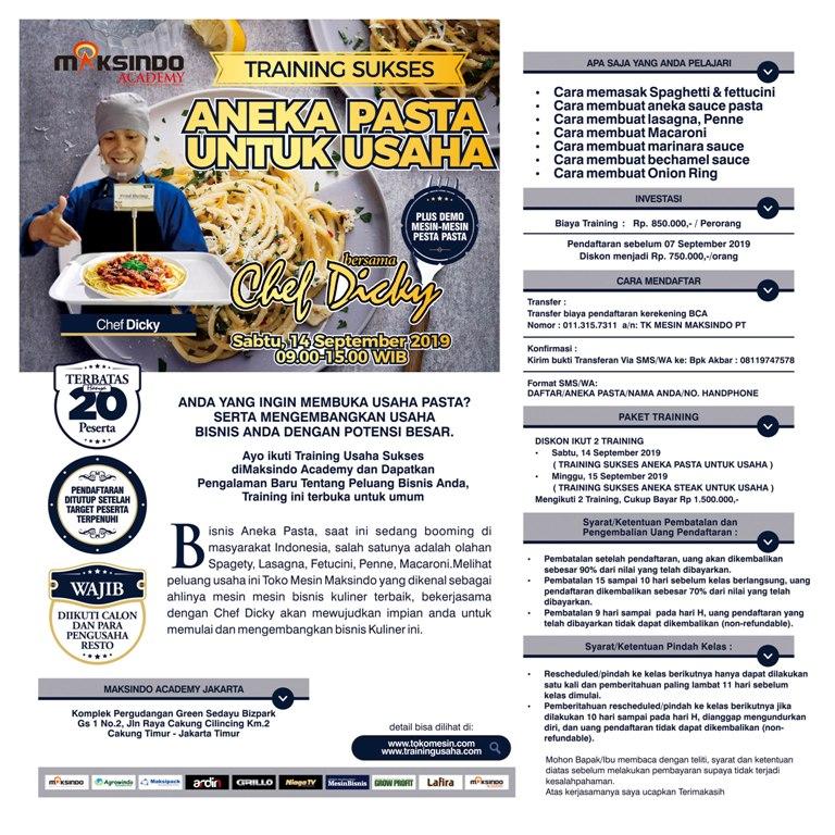 Training Sukses  Aneka Pasta Untuk Usaha, Sabtu, 14 September 2019