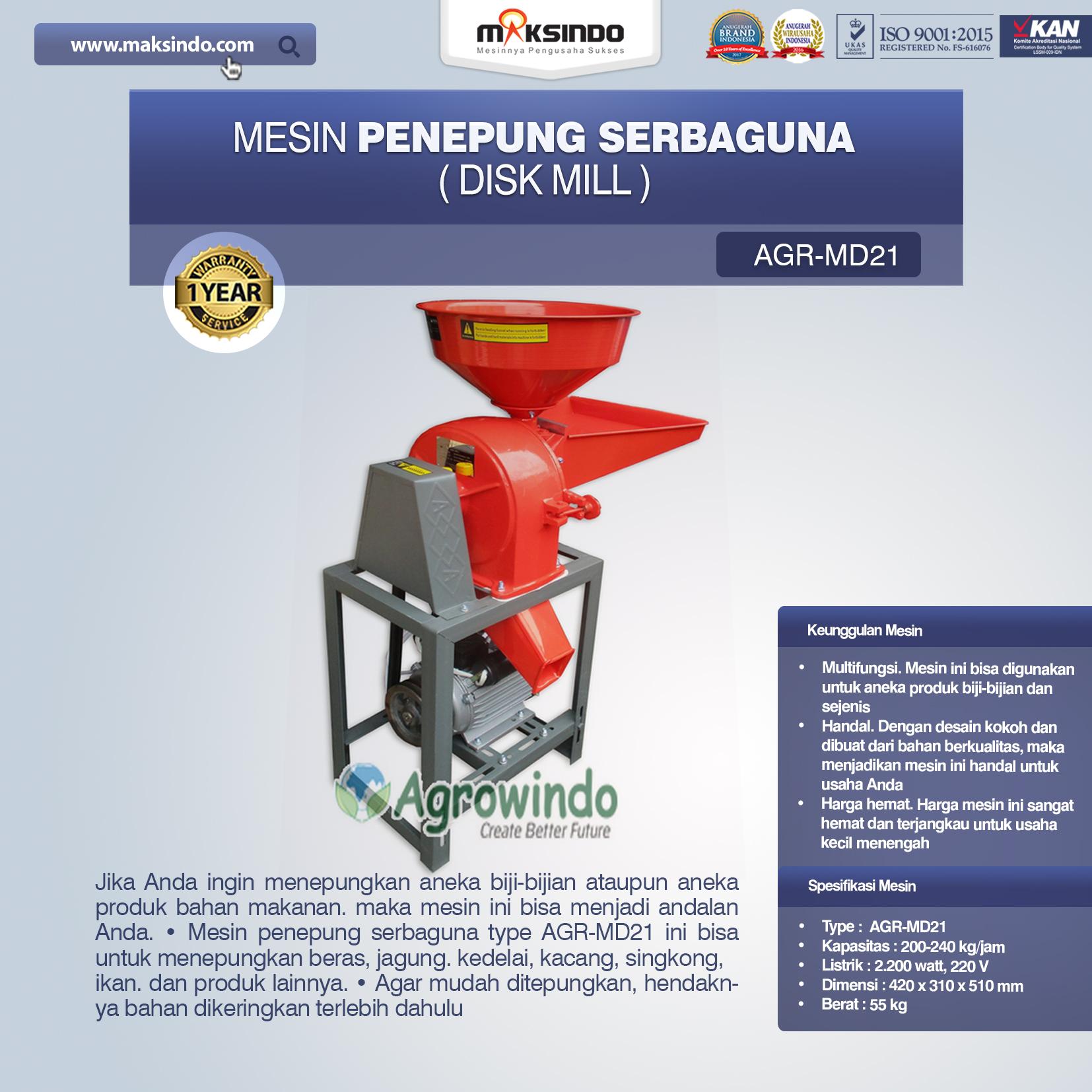 Jual Penepung Disk Mill Serbaguna (AGR-MD21) di Bekasi