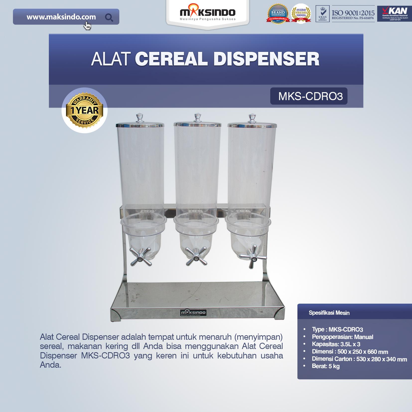 Jual Alat Cereal Dispenser MKS-CDR03 di Bekasi