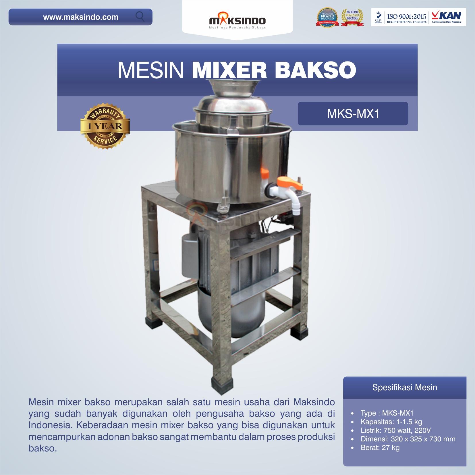 Jual Mesin Mixer Bakso MKS-MX1 di Bekasi