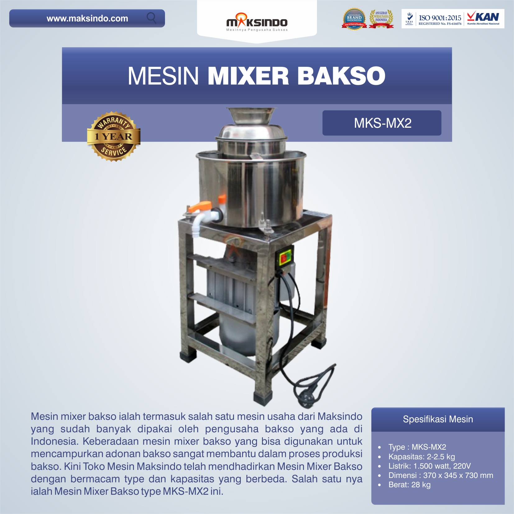 Jual Mesin Mixer Bakso MKS-MX2 di Bekasi