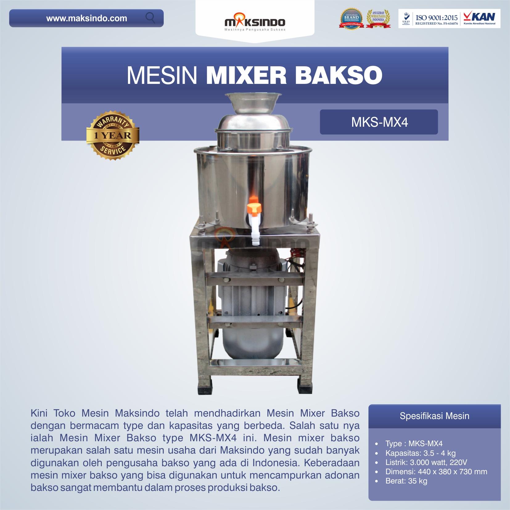 Jual Mesin Mixer Bakso MKS-MX4 di Bekasi