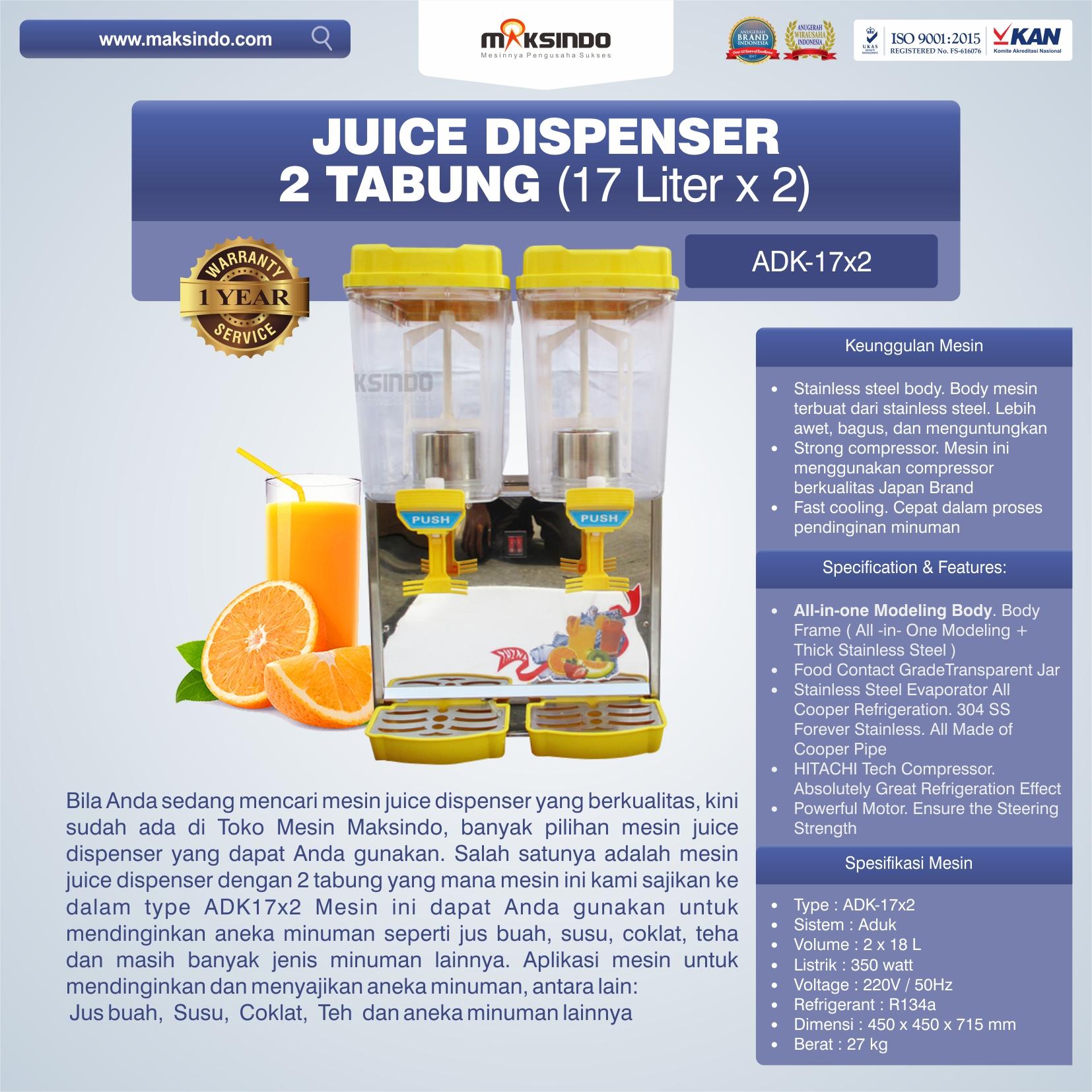 Jual Juice Dispenser 2 Tabung (17 Liter) – ADK17x2 di Bekasi