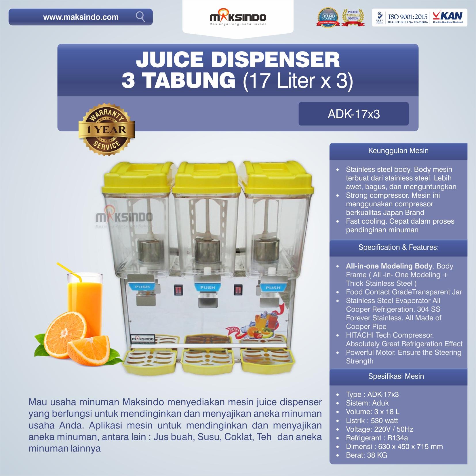 Jual Mesin Juice Dispenser 3 Tabung (17 Liter)-ADK-17×3 di Bekasi