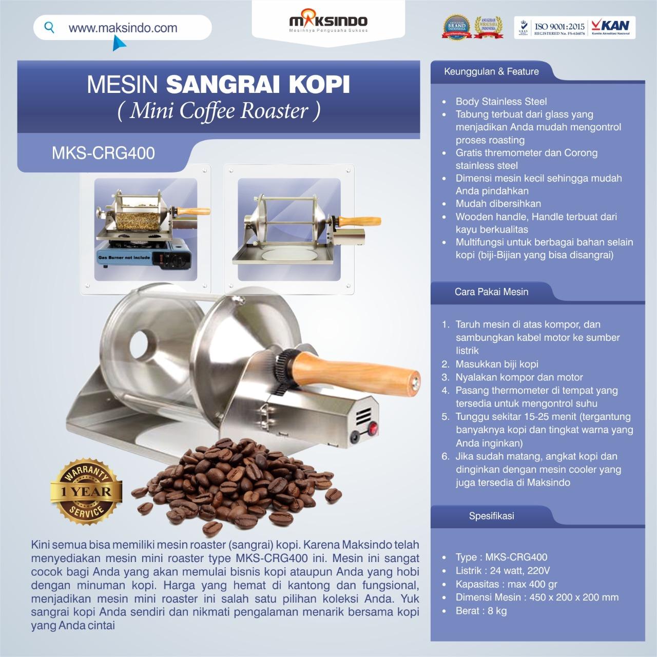 Jual Mesin Sangrai Kopi (Coffee Roaster) MKS-CRG400 di Bekasi