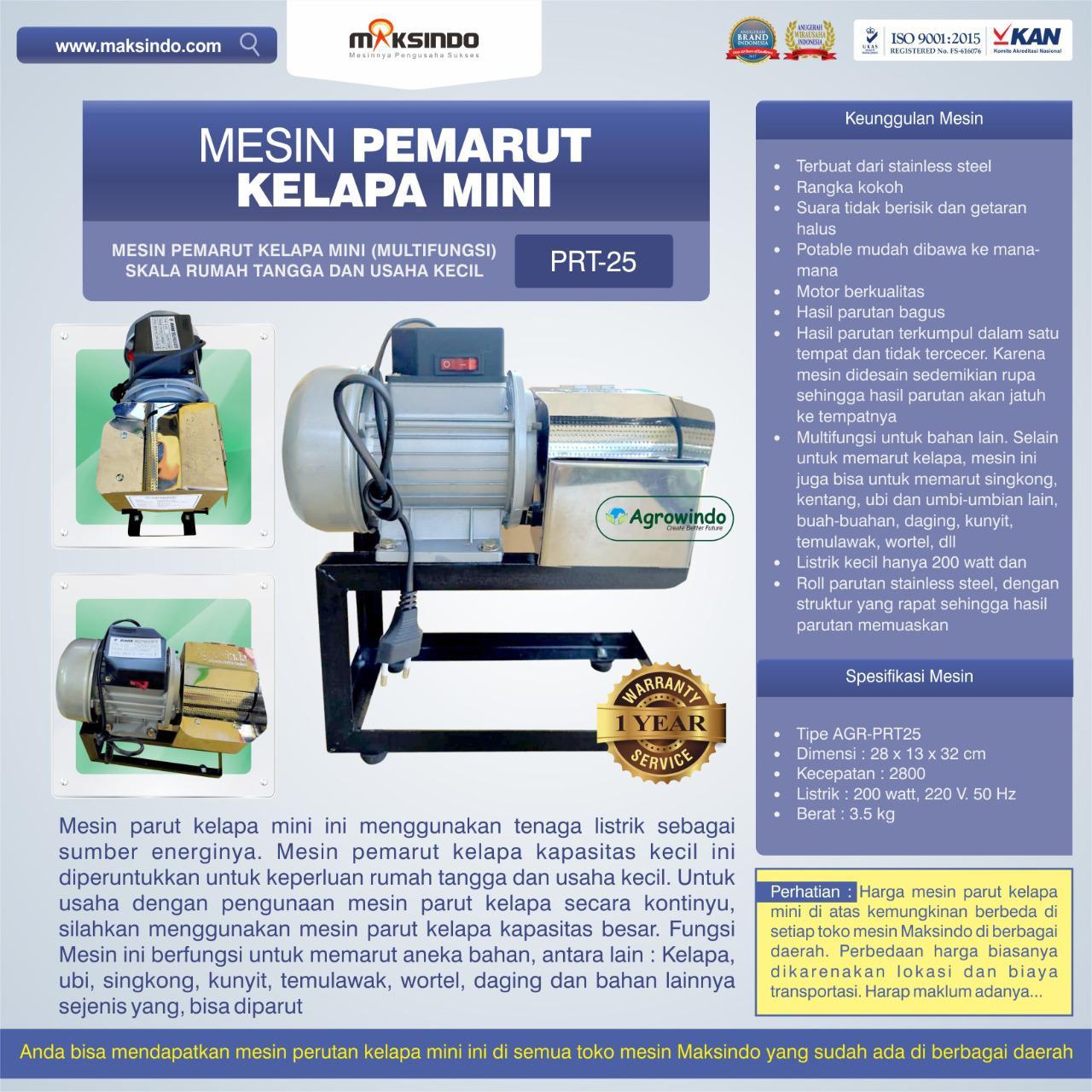 Jual Mesin Parut Kelapa Mini AGR-PRT25 di Bekasi