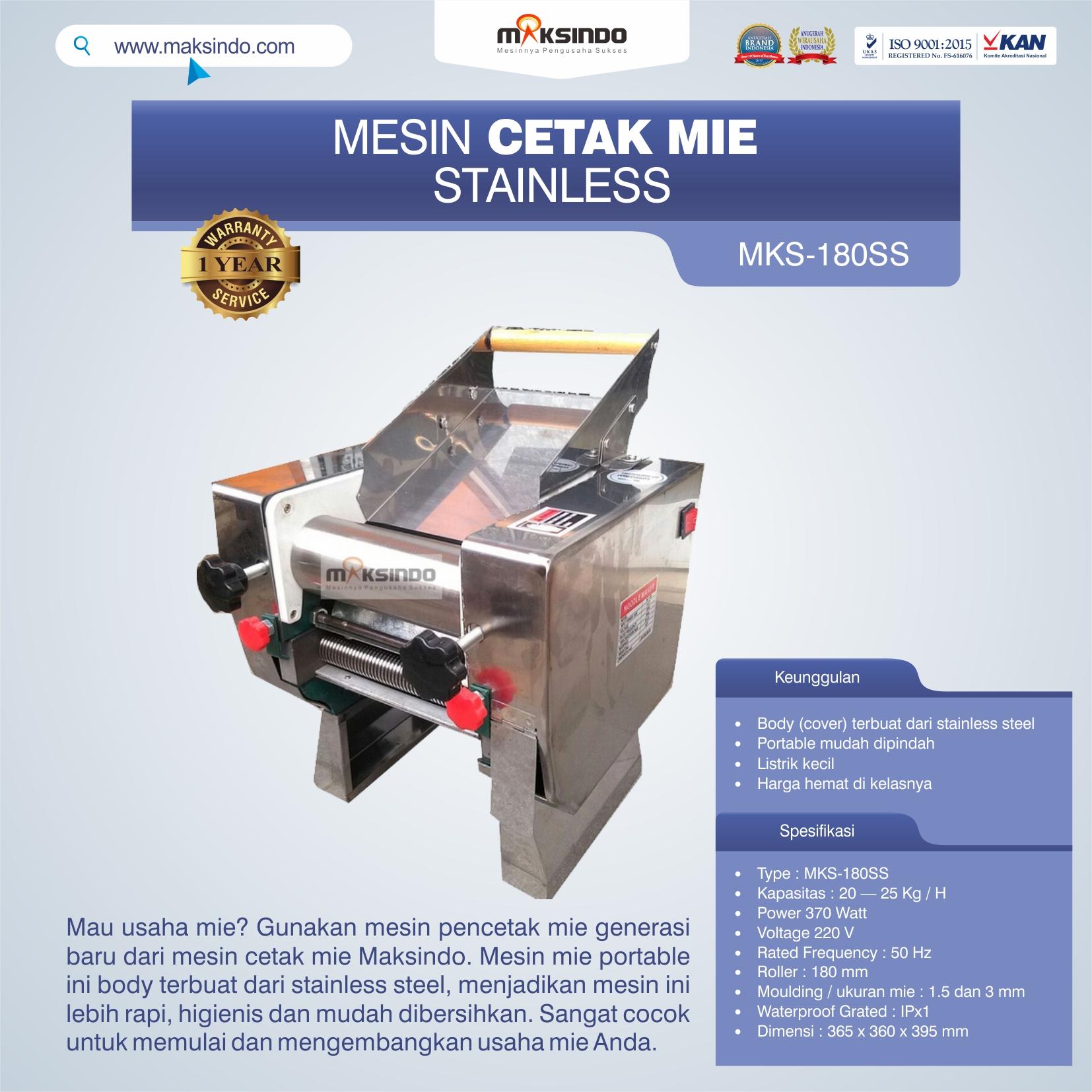 Jual Mesin Cetak Mie Stainless (MKS-180SS) di Bekasi