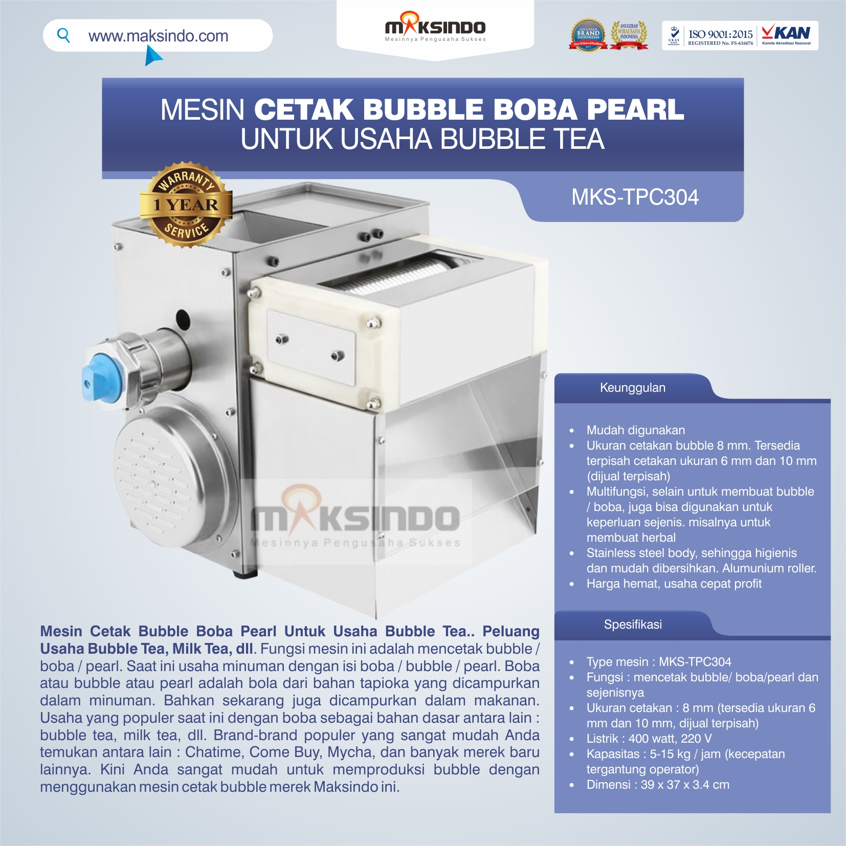 Jual Mesin Cetak Bubble Boba Pearl Untuk Usaha Bubble Tea di Bekasi