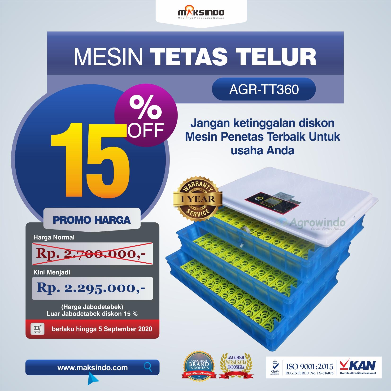 Jual Mesin Penetas Telur AGR-TT360 Di Bekasi