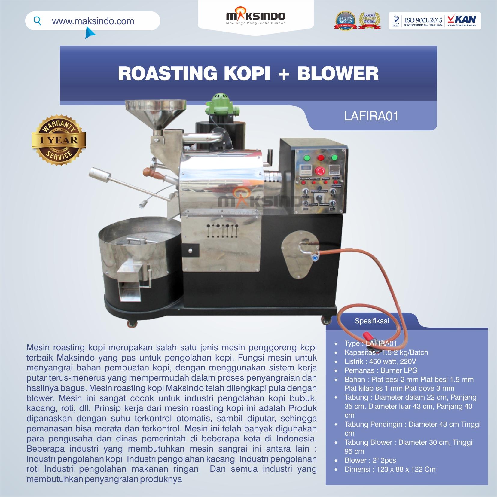 Jual Roasting Kopi + Blower LAFIRA01 di Bekasi