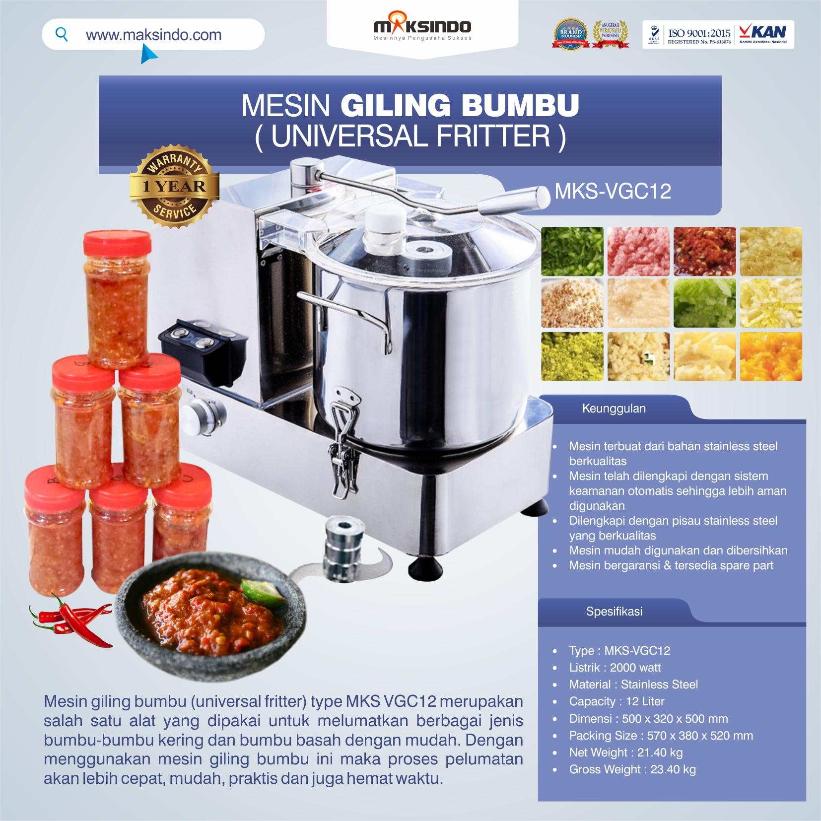 Jual Mesin Giling Bumbu (Universal Fritter) MKS VGC12 di Bekasi