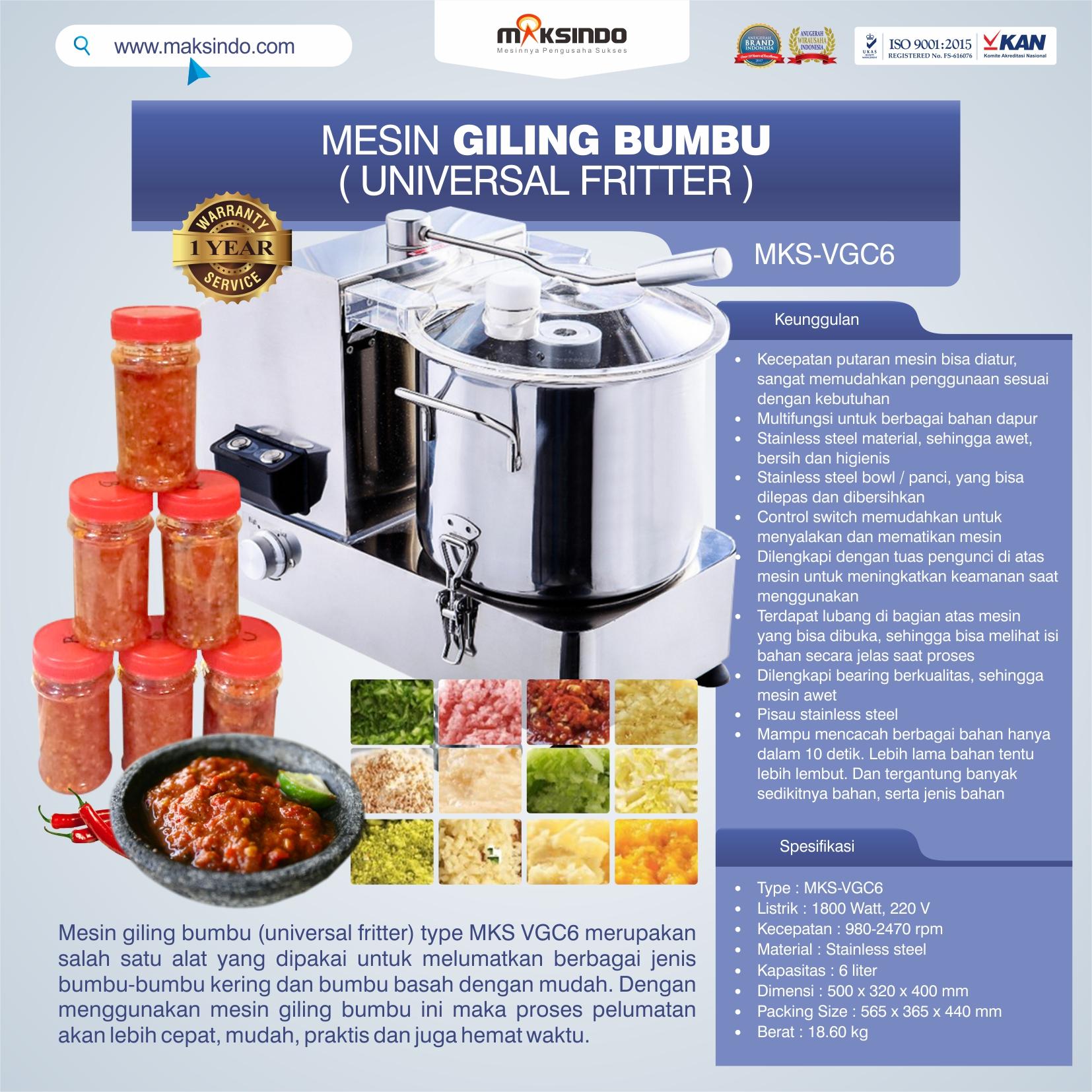 Jual Mesin Universal Fritter 6 liter (VGC6) di Bekasi
