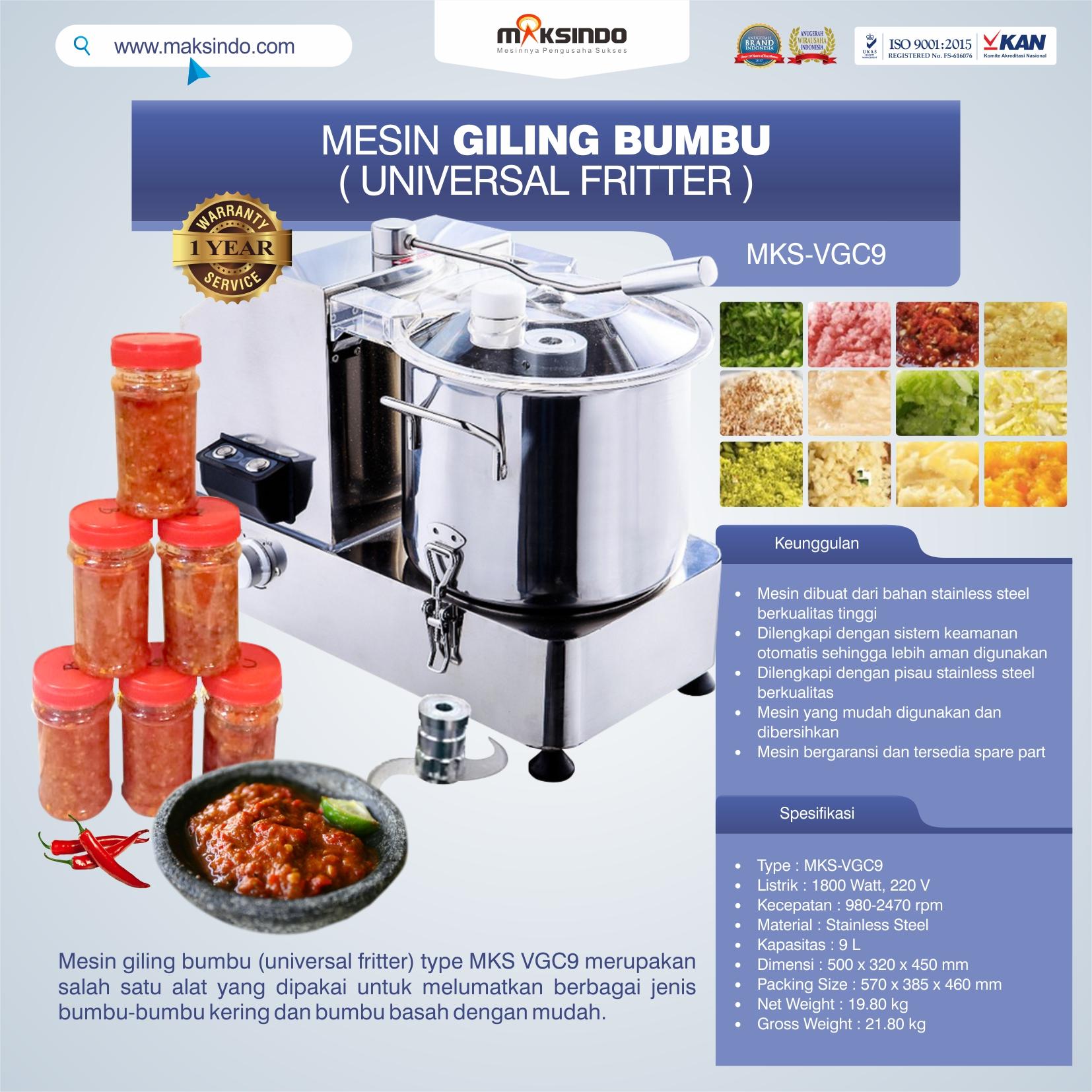 Jual Mesin Giling Bumbu (Universal Fritter) MKS VGC9 di Bekasi