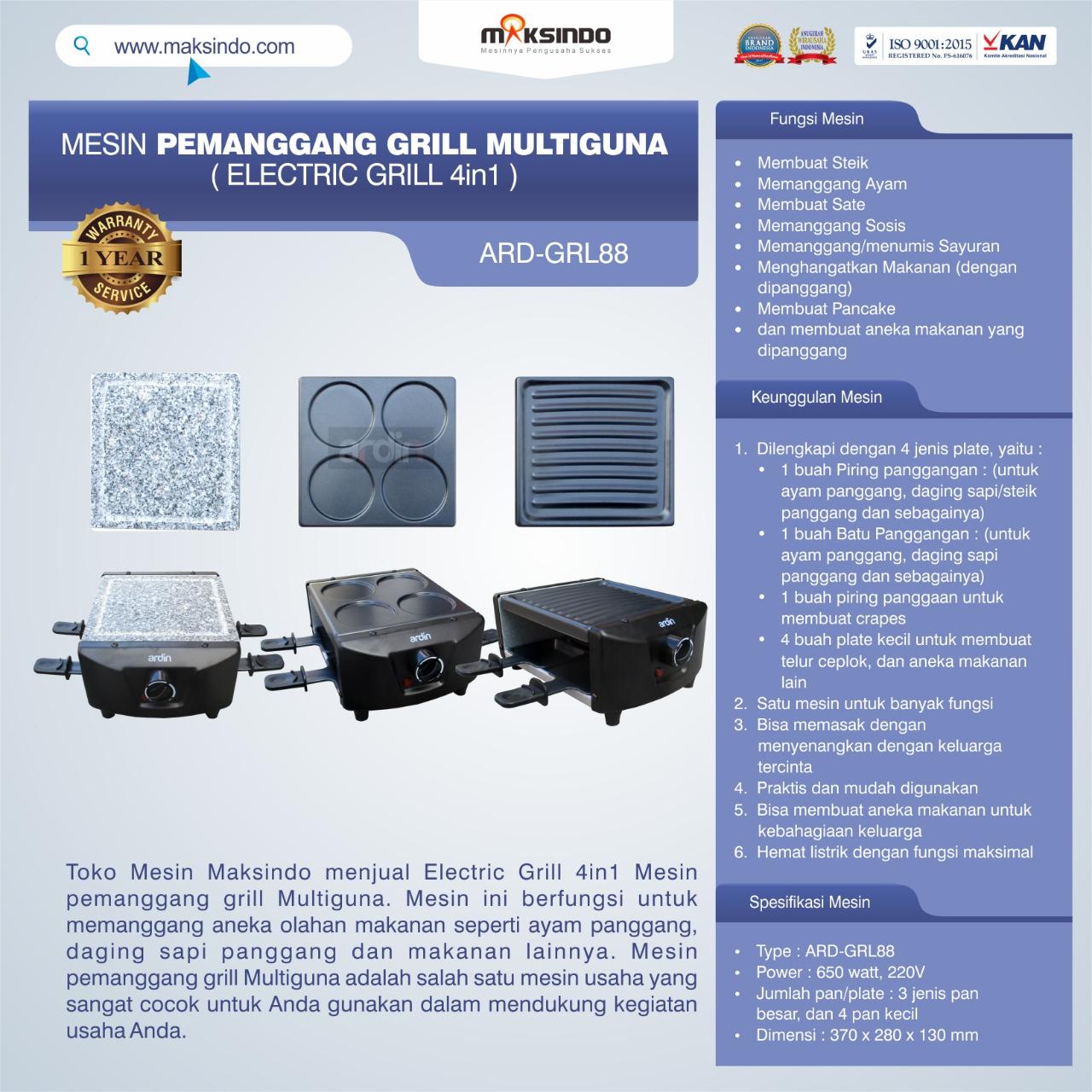 Jual Mesin Pemanggang Grill Multiguna (Electric Grill 4in1) ARD-GRL88 Di Bekasi