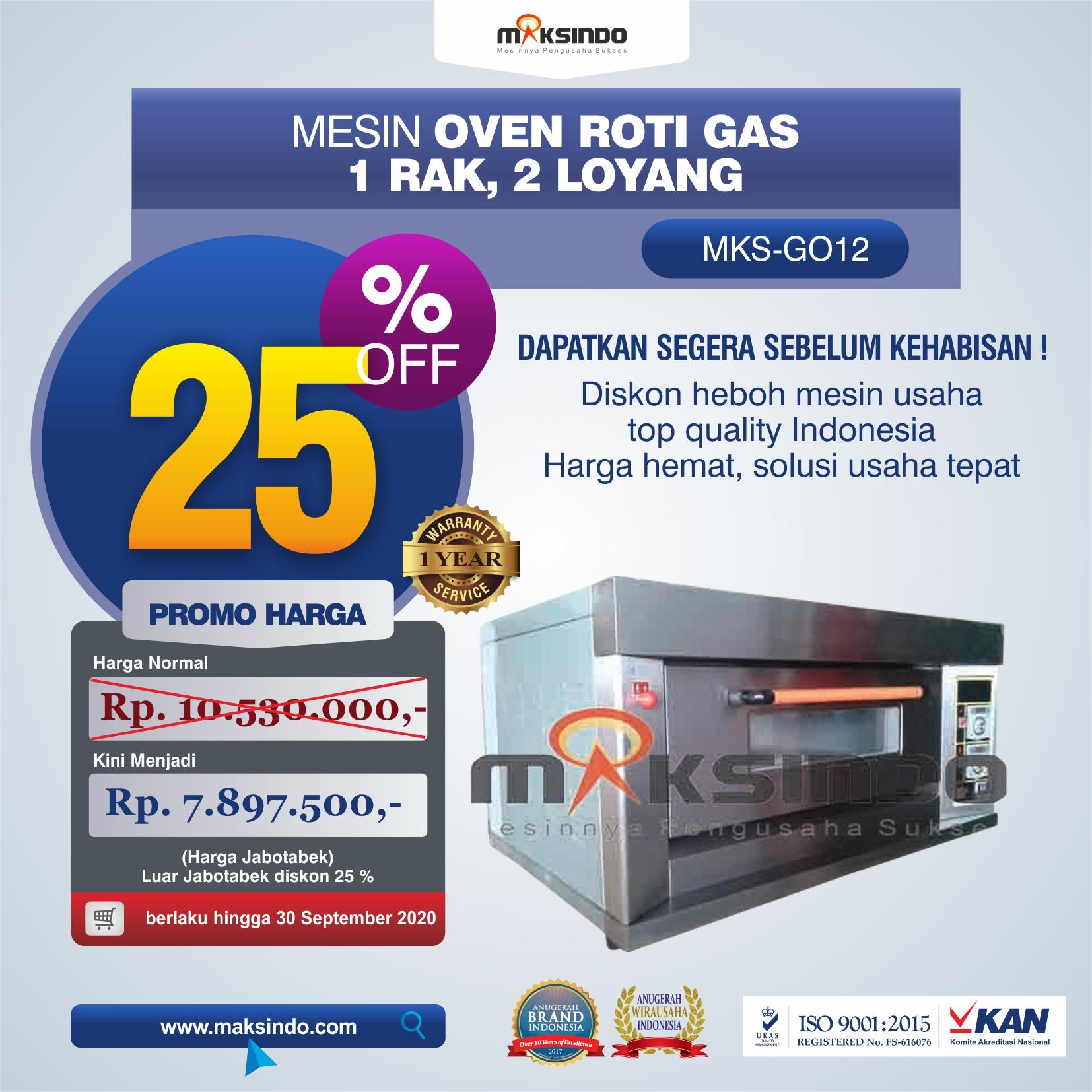 Jual Mesin Oven Gas 2 Loyang (MKS-GO12) di Bekasi