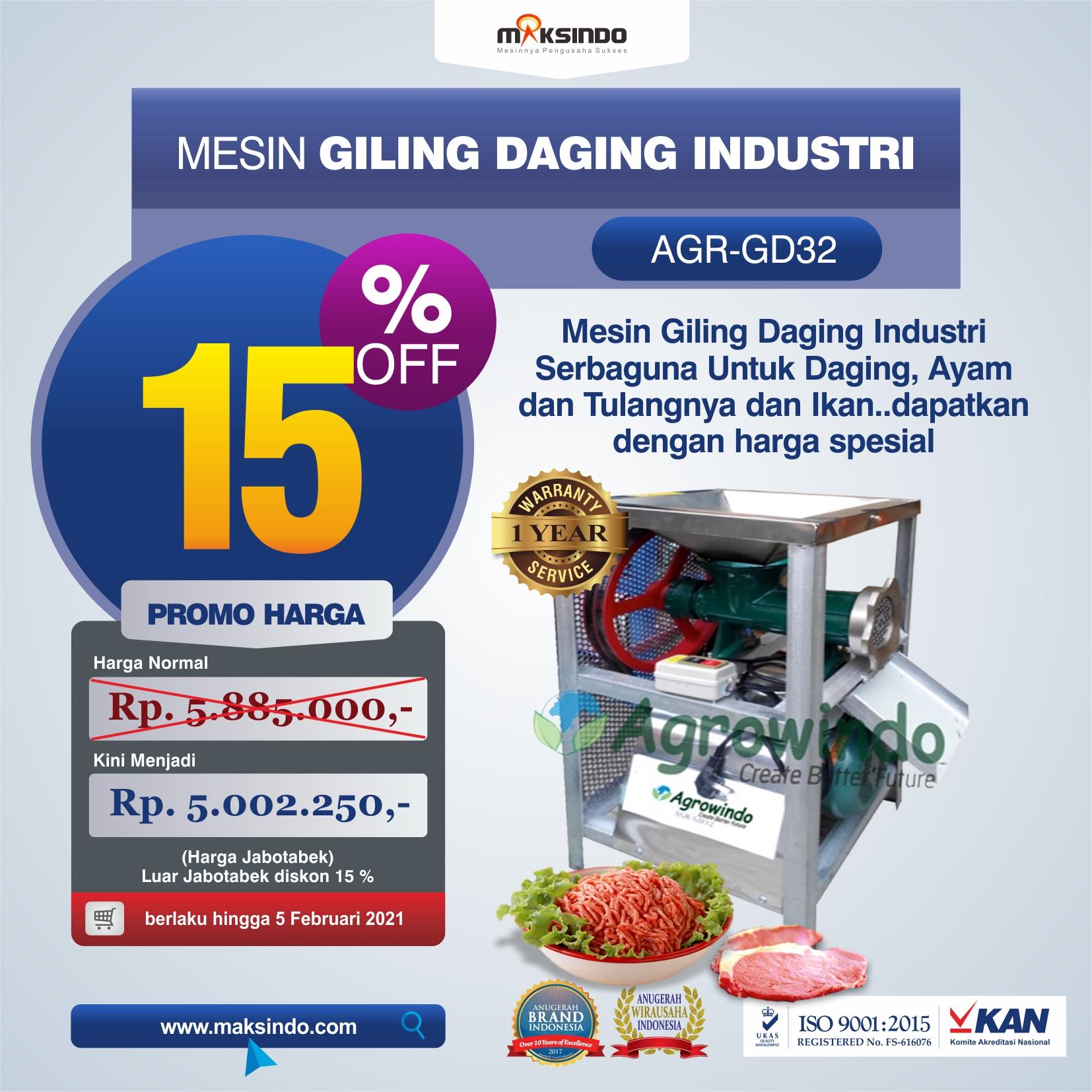 Jual Mesin Giling Daging Industri (AGR-GD32) di Bekasi