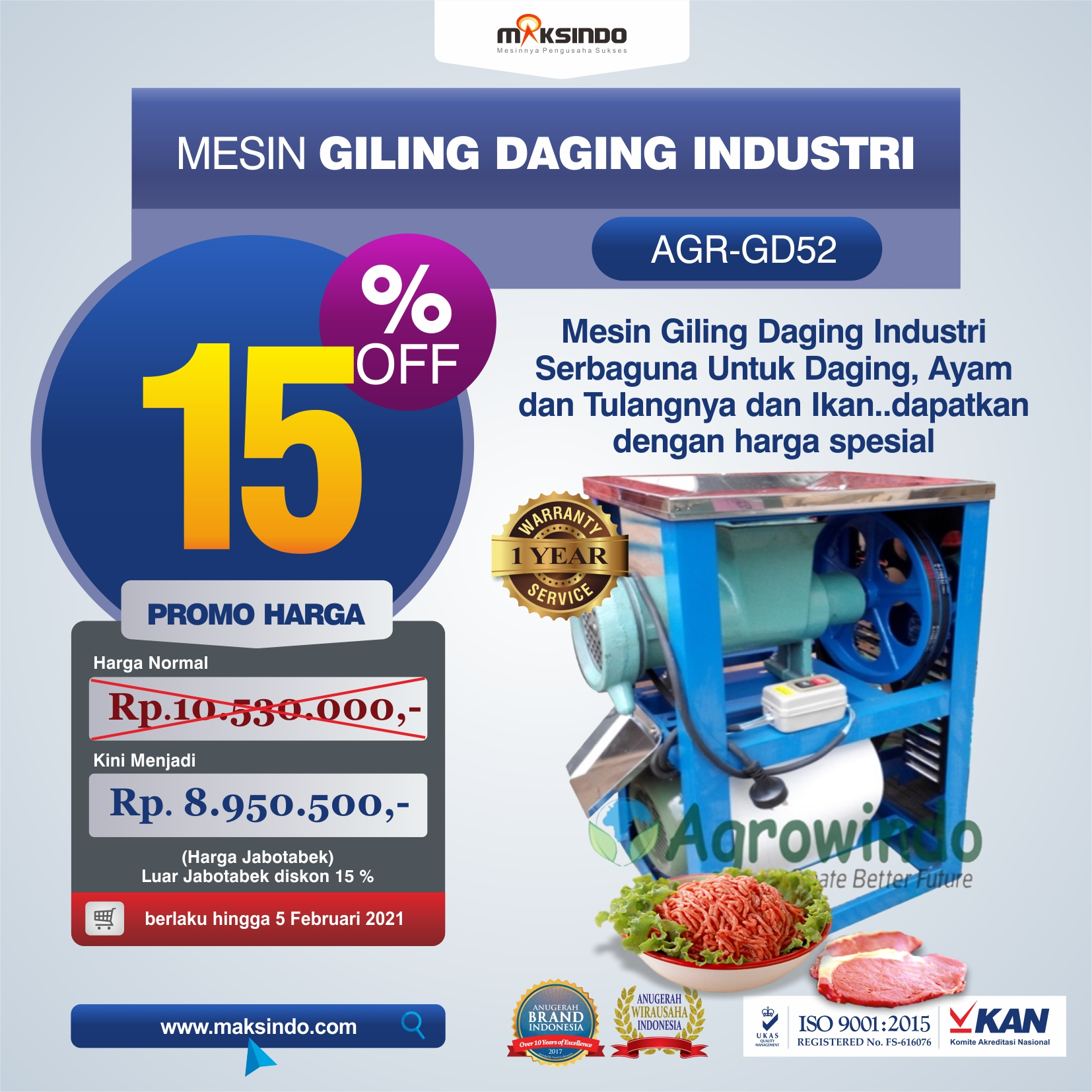 Jual Mesin Giling Daging Industri (AGR-GD52) di Bekasi