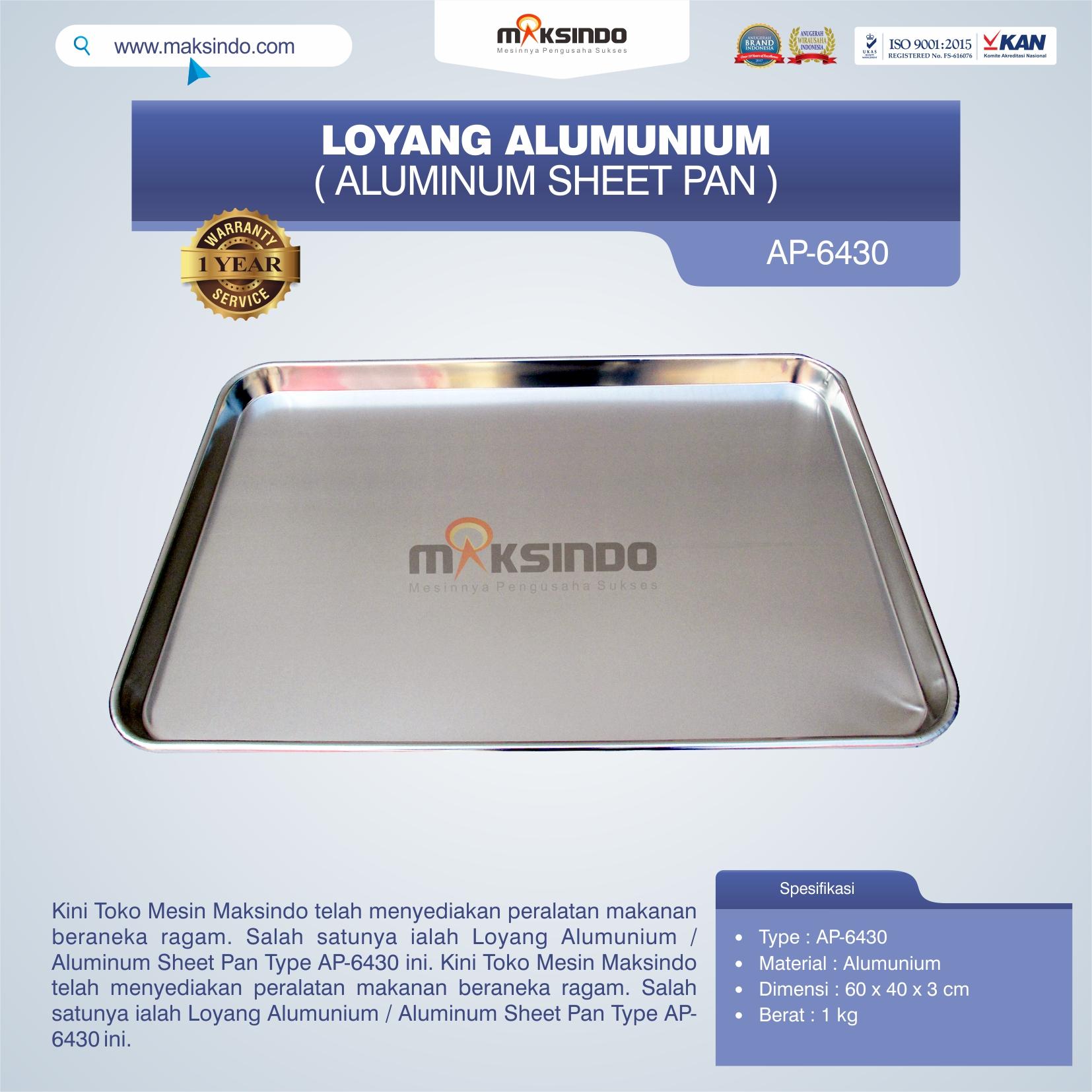 Jual Loyang Alumunium / Aluminum Sheet Pan Type AP-6430 di Bekasi