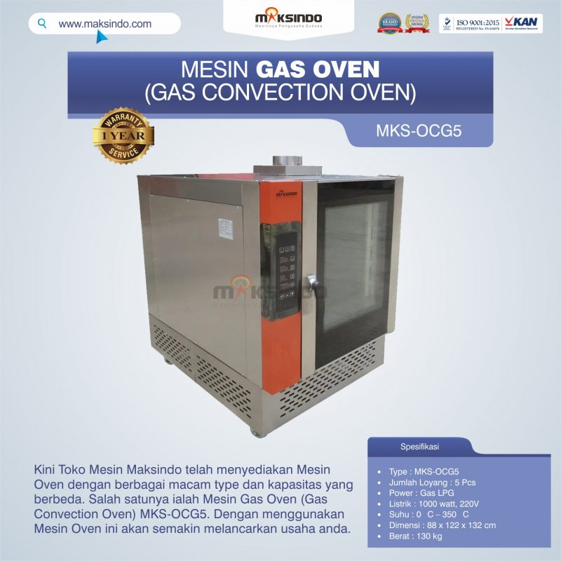 Jual Mesin Gas Oven (Gas Convection Oven) MKS-OCG5 di Bekasi