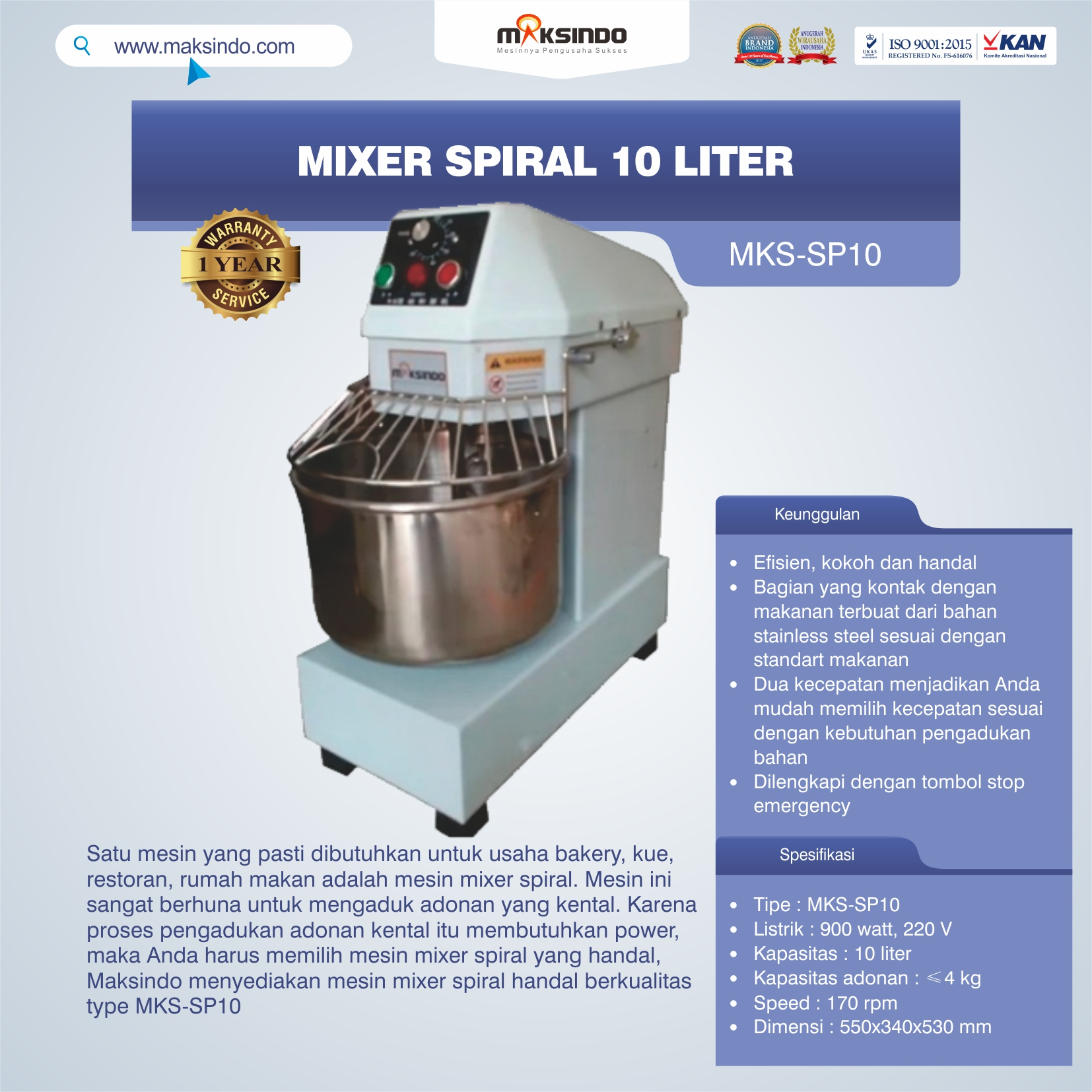 Jual Mixer Spiral 10 Liter (MKS-SP10) di Bekasi