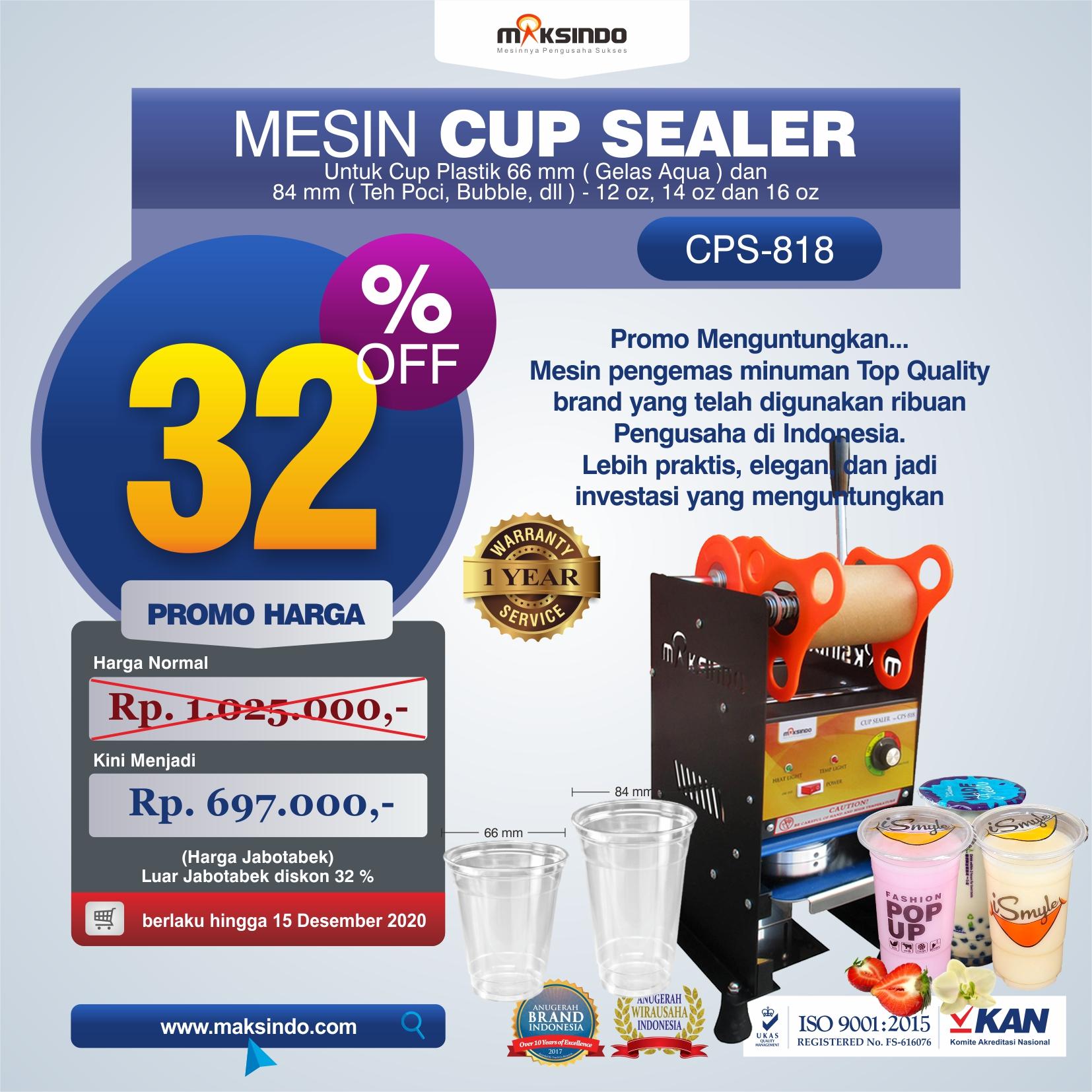 Jual Mesin Cup Sealer Manual (CPS-818) di Bekasi