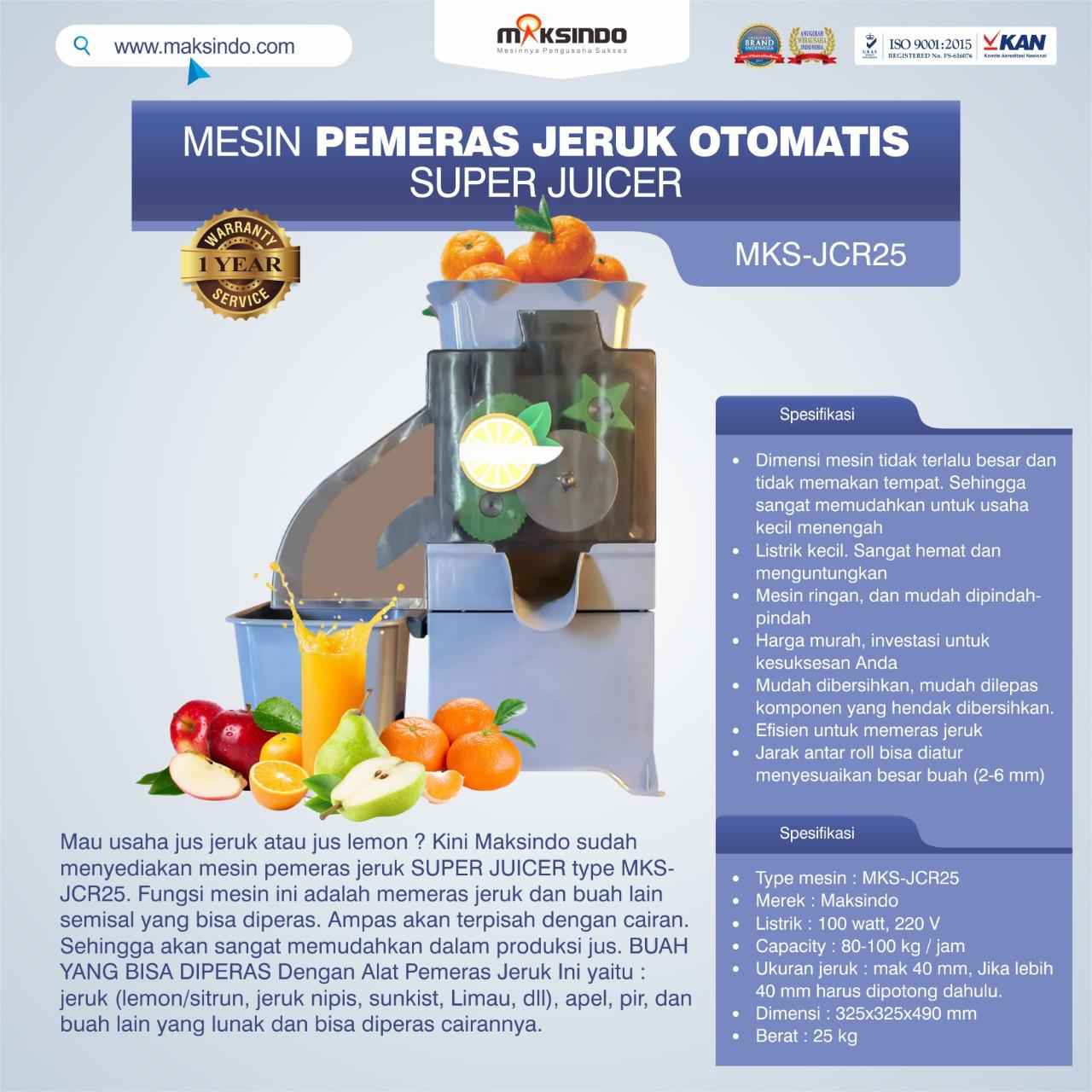 Jual Mesin Pemeras Jeruk Otomatis Super Juicer MKS-JCR25 di Bekasi