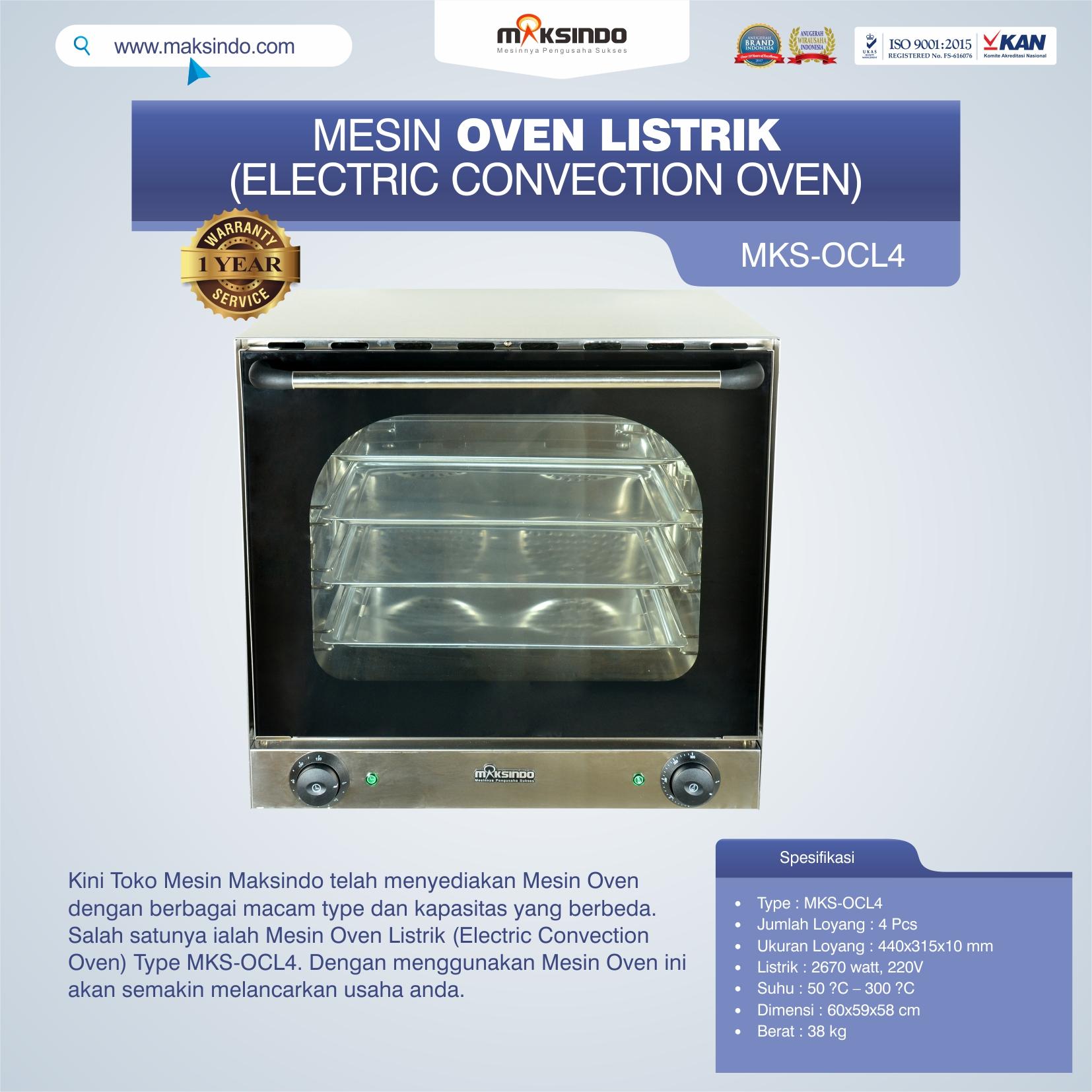 Jual Mesin Oven Listrik (Electric Convection Oven) MKS-OCL4 di Bekasi