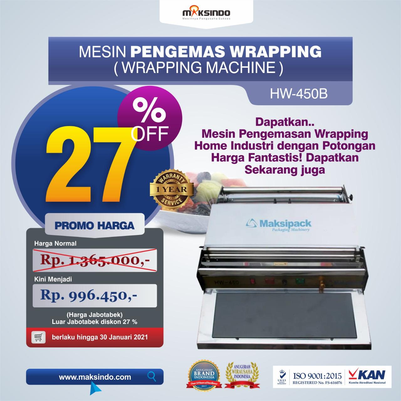 Jual Mesin Wrapping Makanan HW-450B di Bekasi
