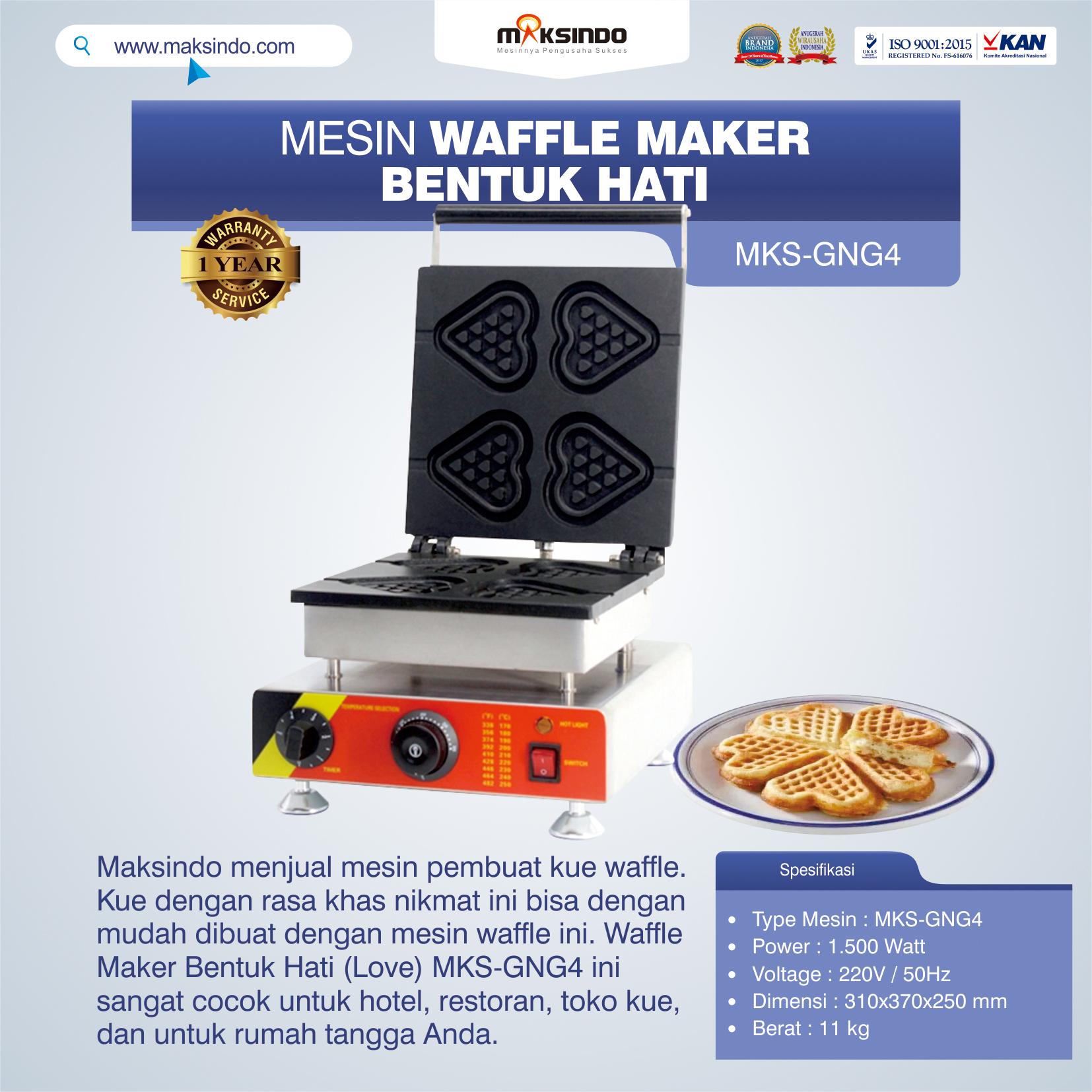 Jual Mesin Waffle Maker Bentuk Hati (Love) MKS-GNG4 di Bekasi