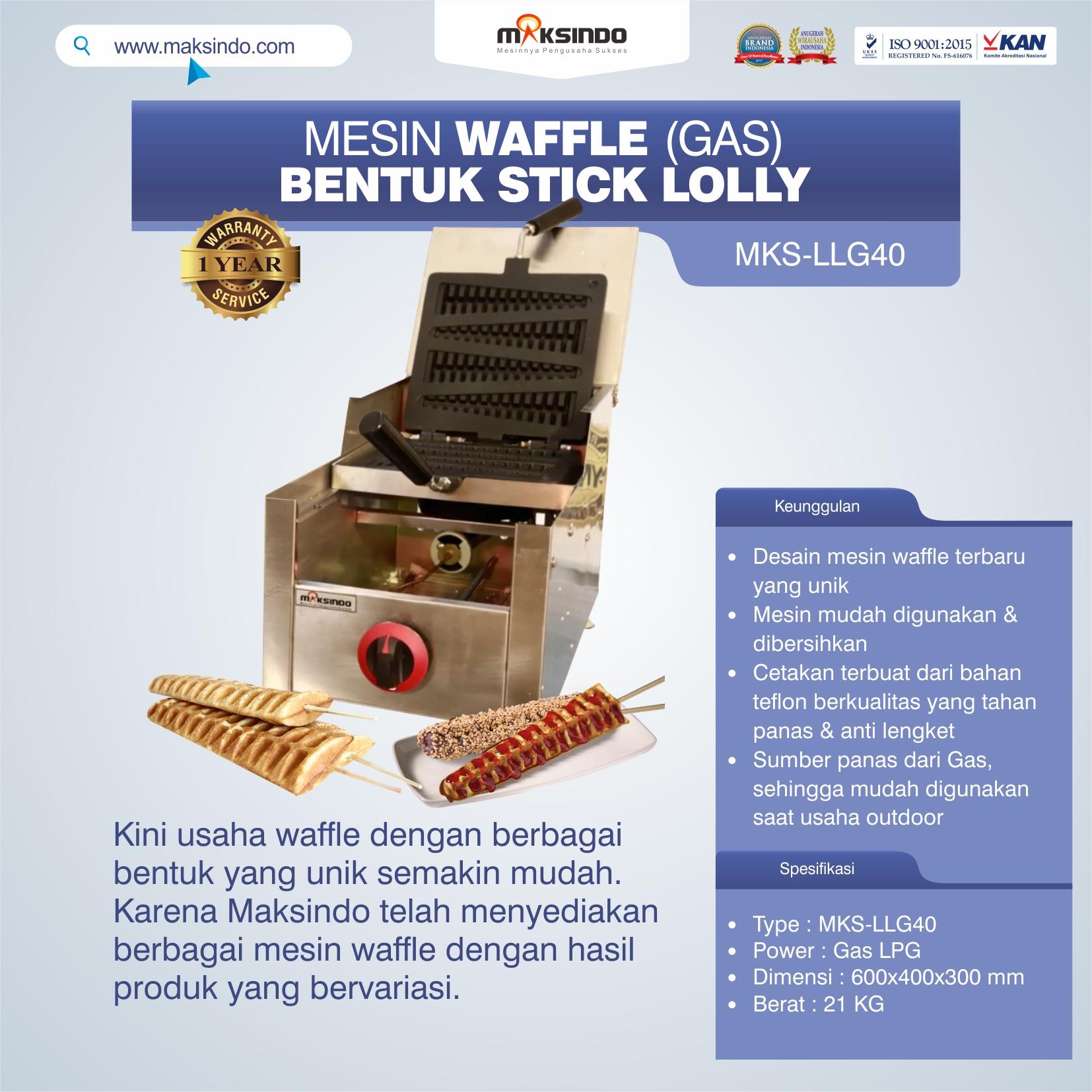 Jual Mesin Waffle Bentuk Stick Lolly (Gas) MKS-LLG40 di Bekasi