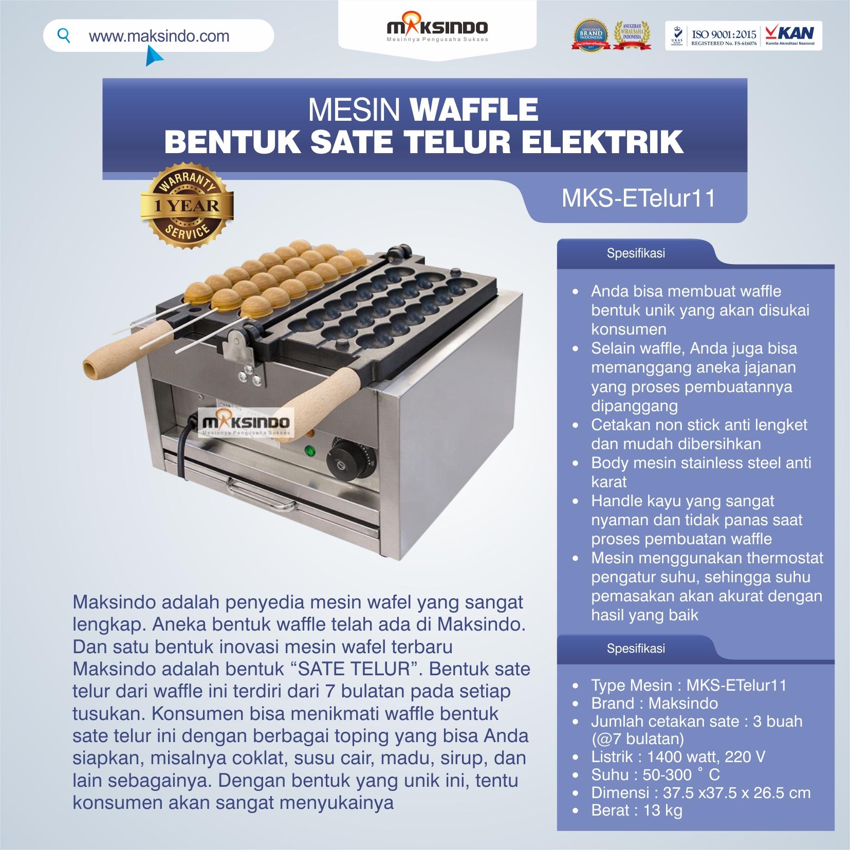 Jual Mesin Waffle Bentuk Sate Telur Elektrik – MKS-ETelur11 di Bekasi