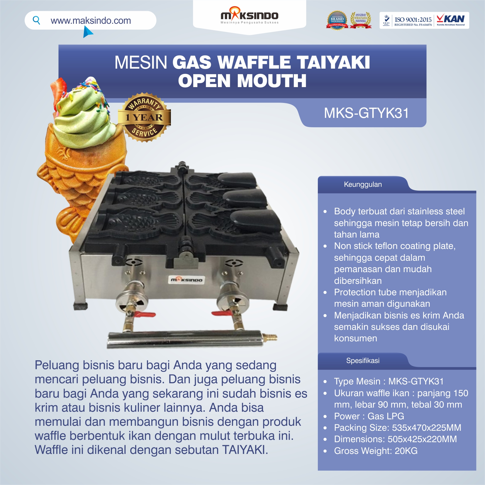 Jual Mesin Gas Waffle Taiyaki Open Mouth (GTYK31) di Bekasi